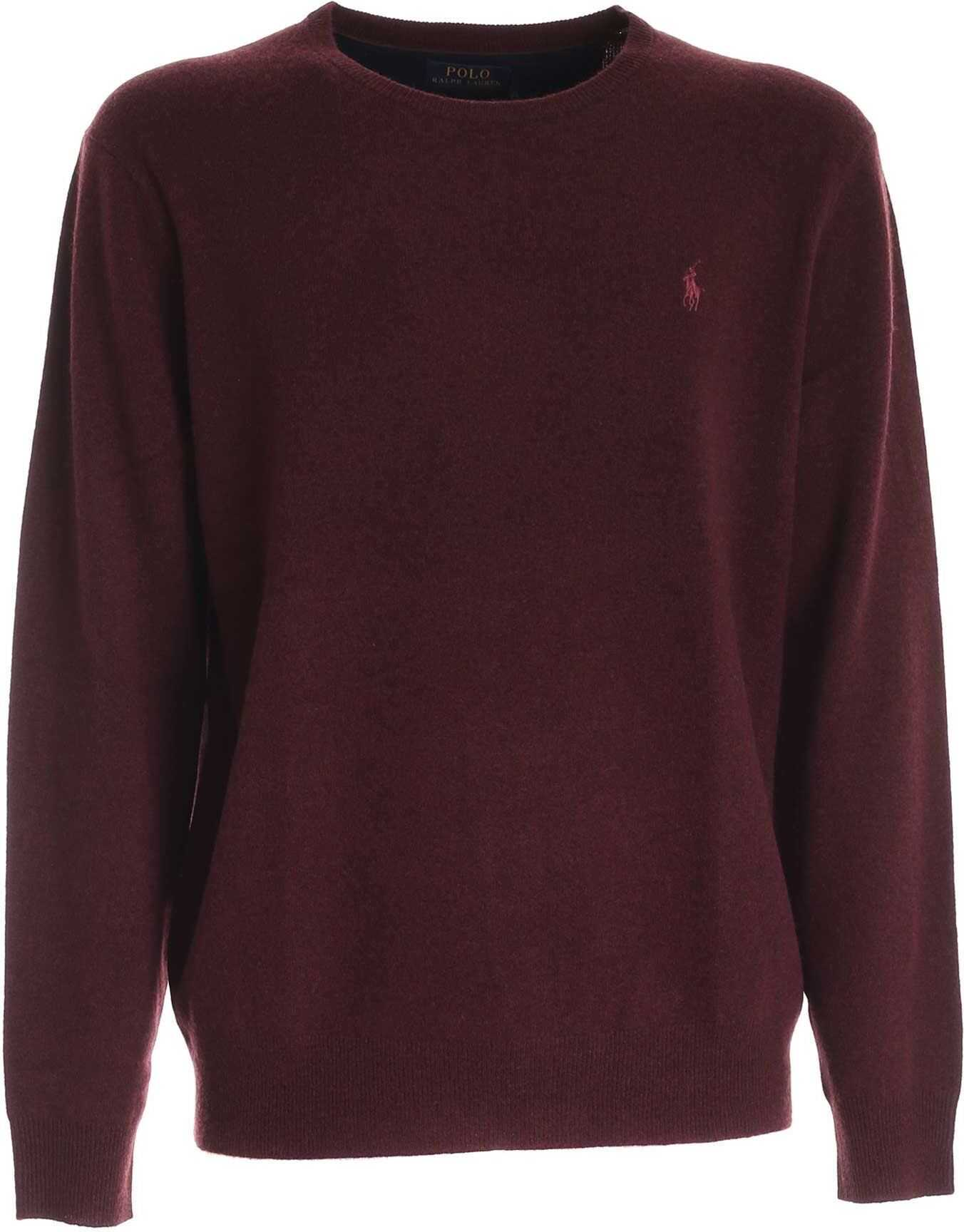 Ralph Lauren Logo Pullover In Burgundy Melange Red imagine
