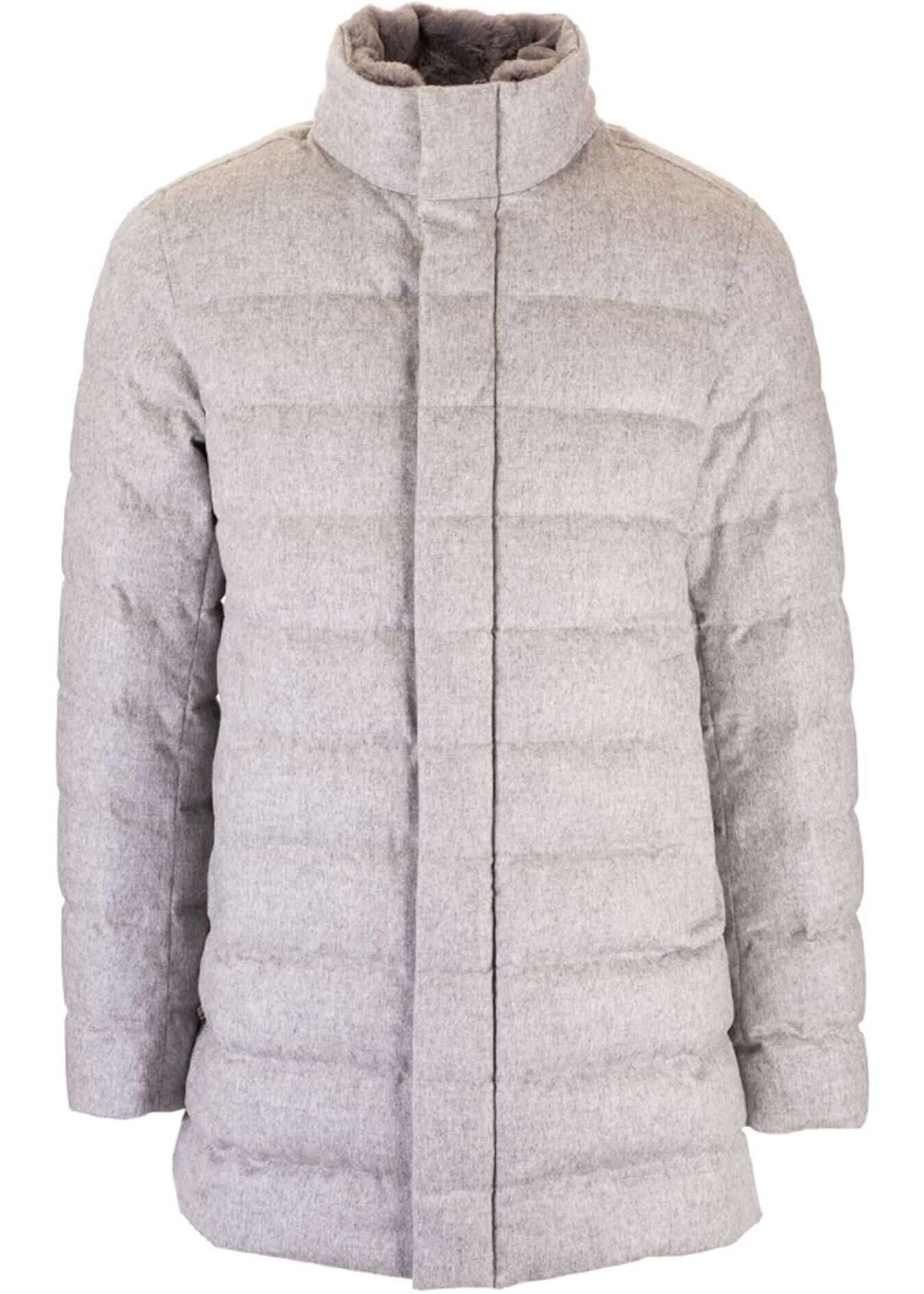 Herno Down Jacket With Beaver Collar In Grey Grey imagine