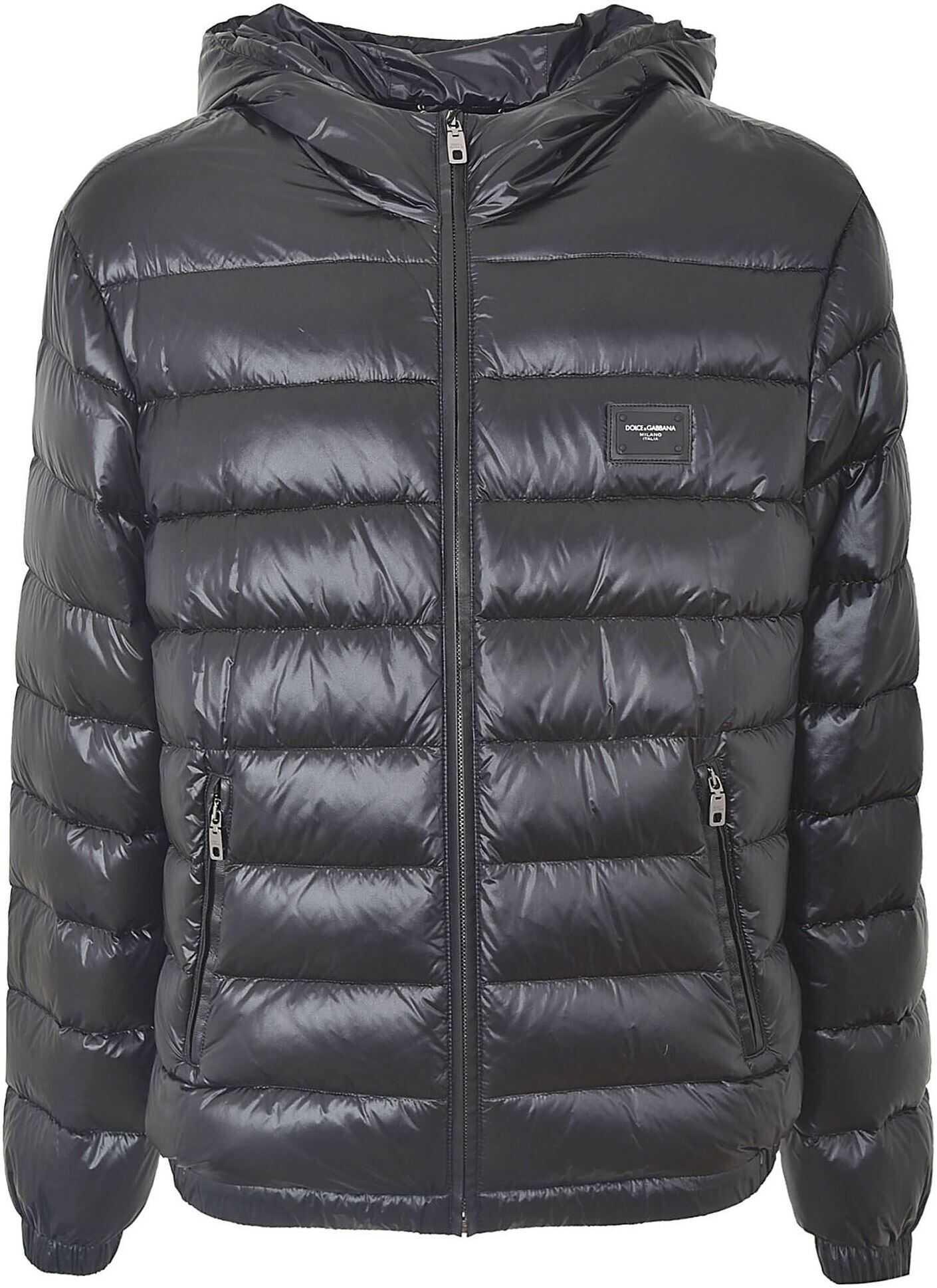 Dolce & Gabbana Hooded Down Jacket In Black Black imagine