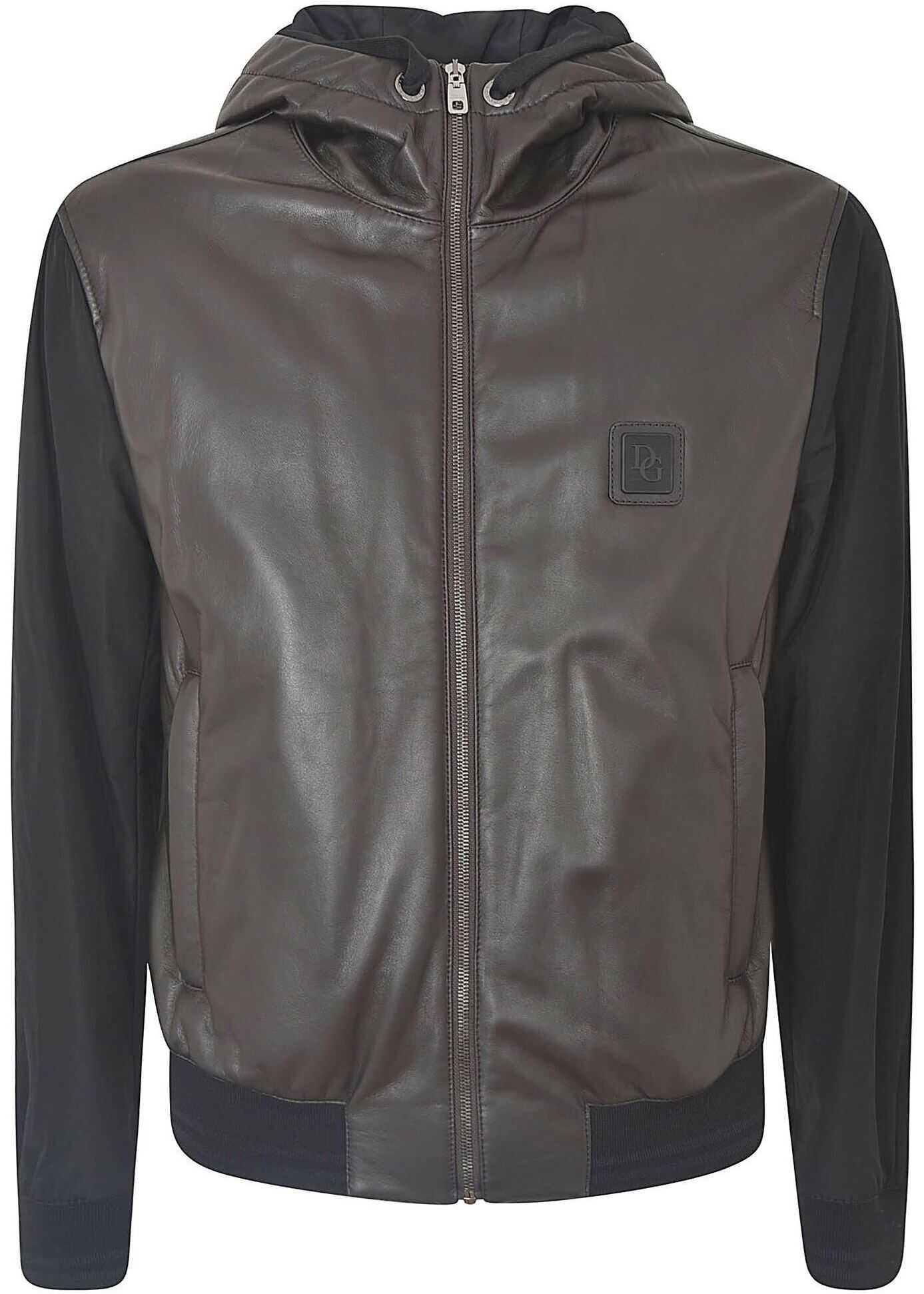 Dolce & Gabbana Black Jacket With Leather Detail Black imagine