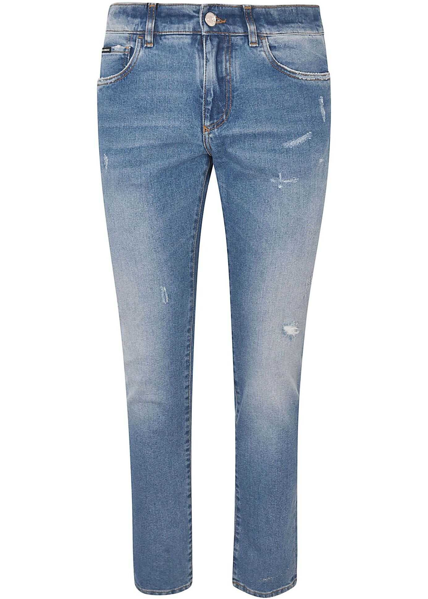Dolce & Gabbana Blue Jeans With Logo Blue imagine