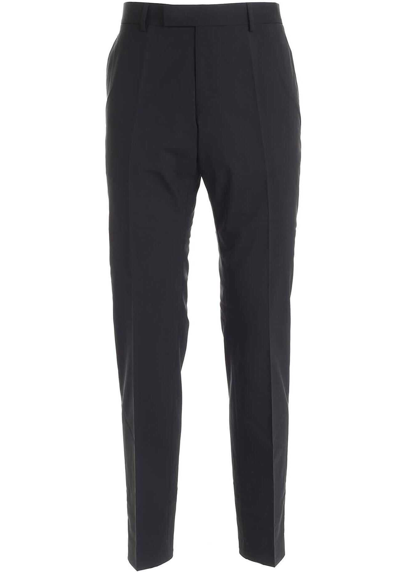 Karl Lagerfeld Stretch Virgin Wool Pants In Black Black imagine