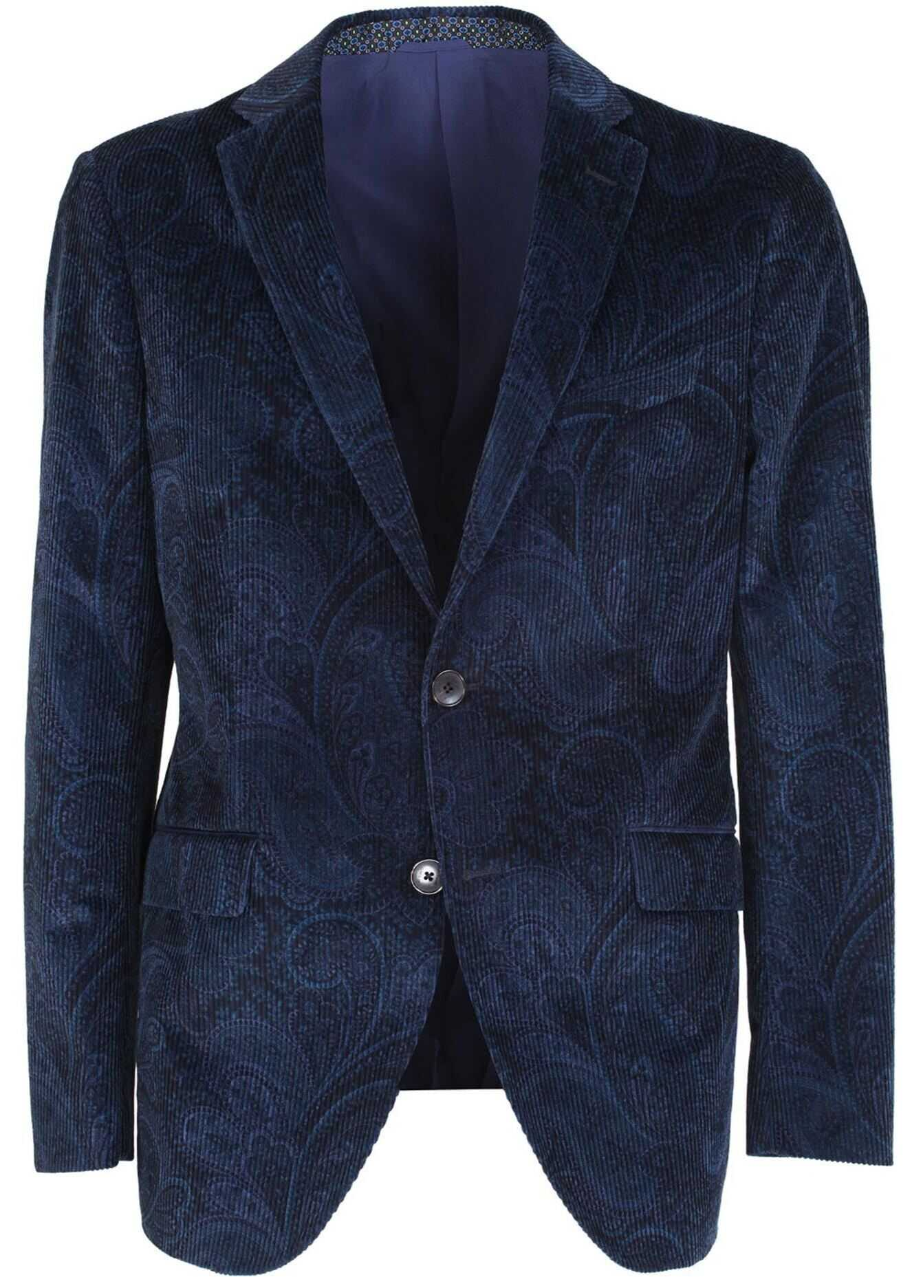 ETRO Tailored Jacket With Paisley Motifs In Blue Blue imagine