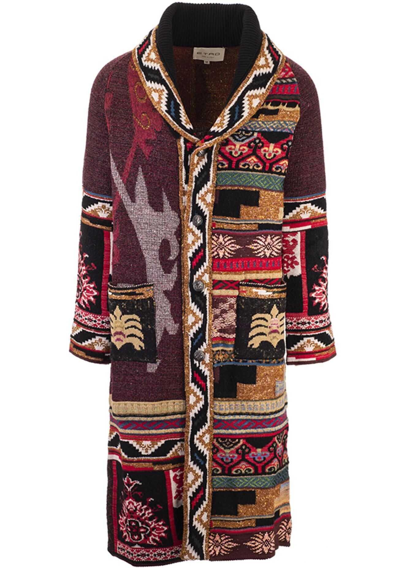 ETRO Jacquard Carpet Coat Red imagine