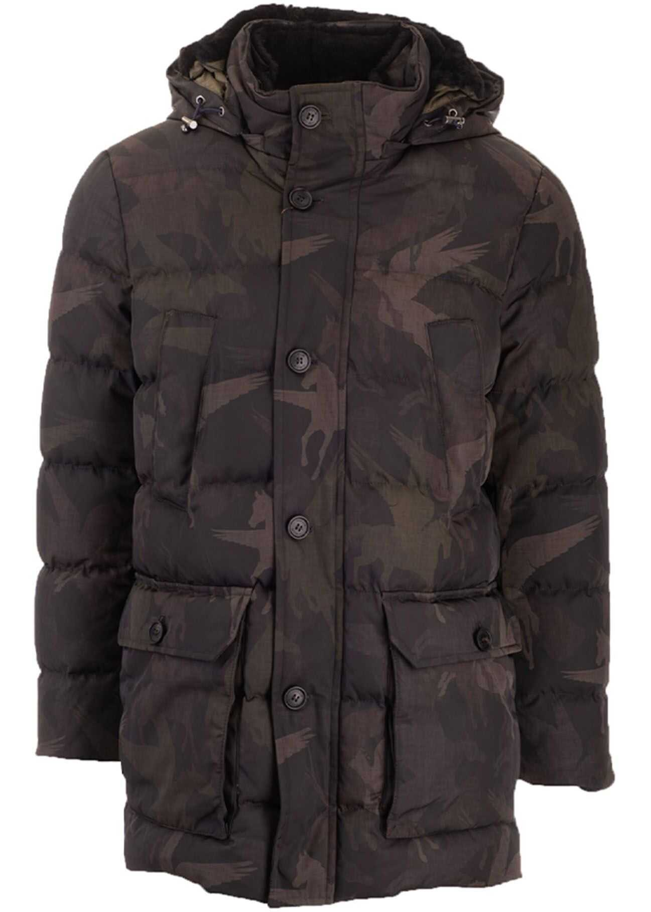 ETRO Camouflage Pegaso Down Jacket In Green Green imagine