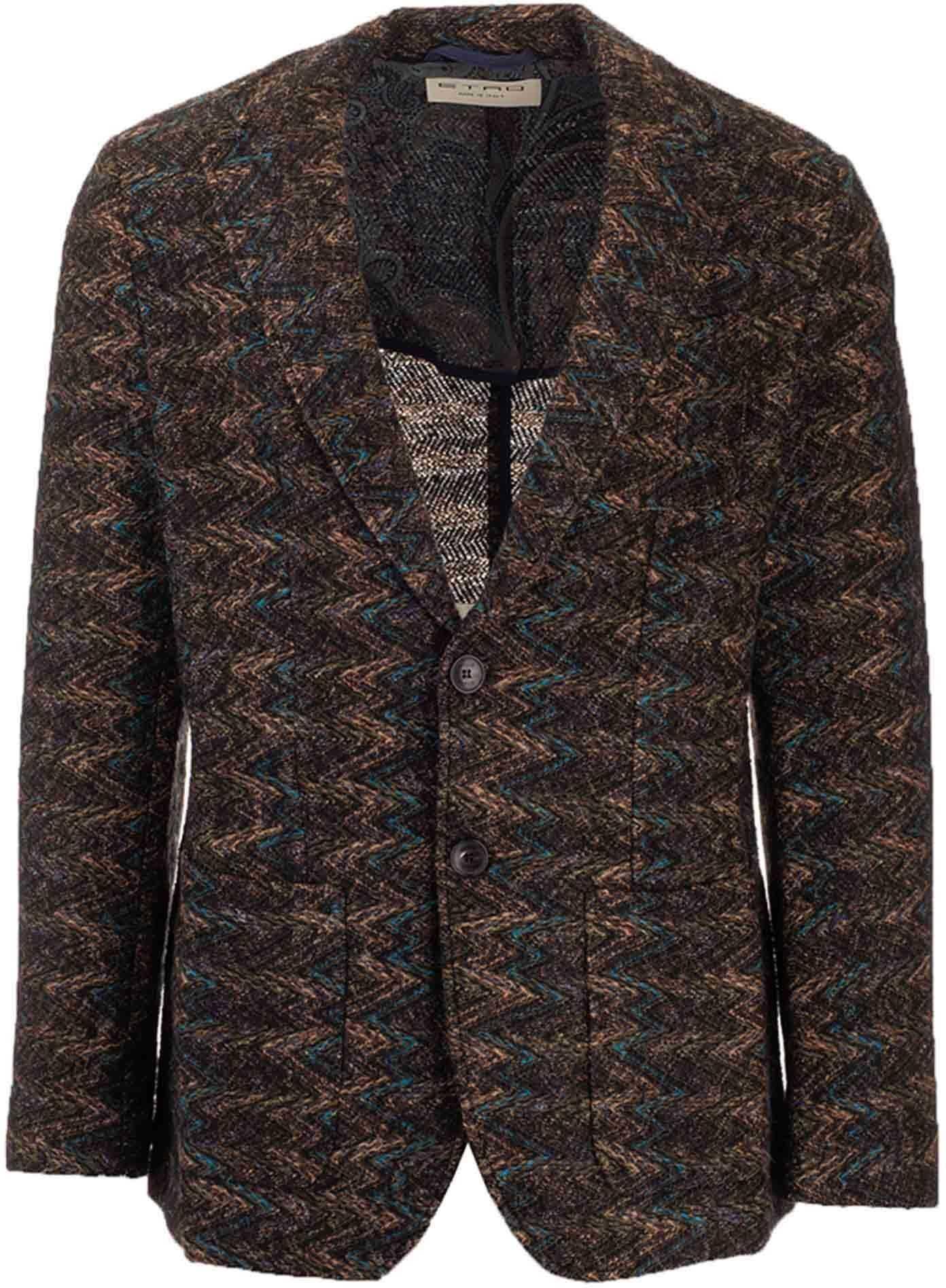 ETRO Zig Zag Jacket In Brown Brown imagine