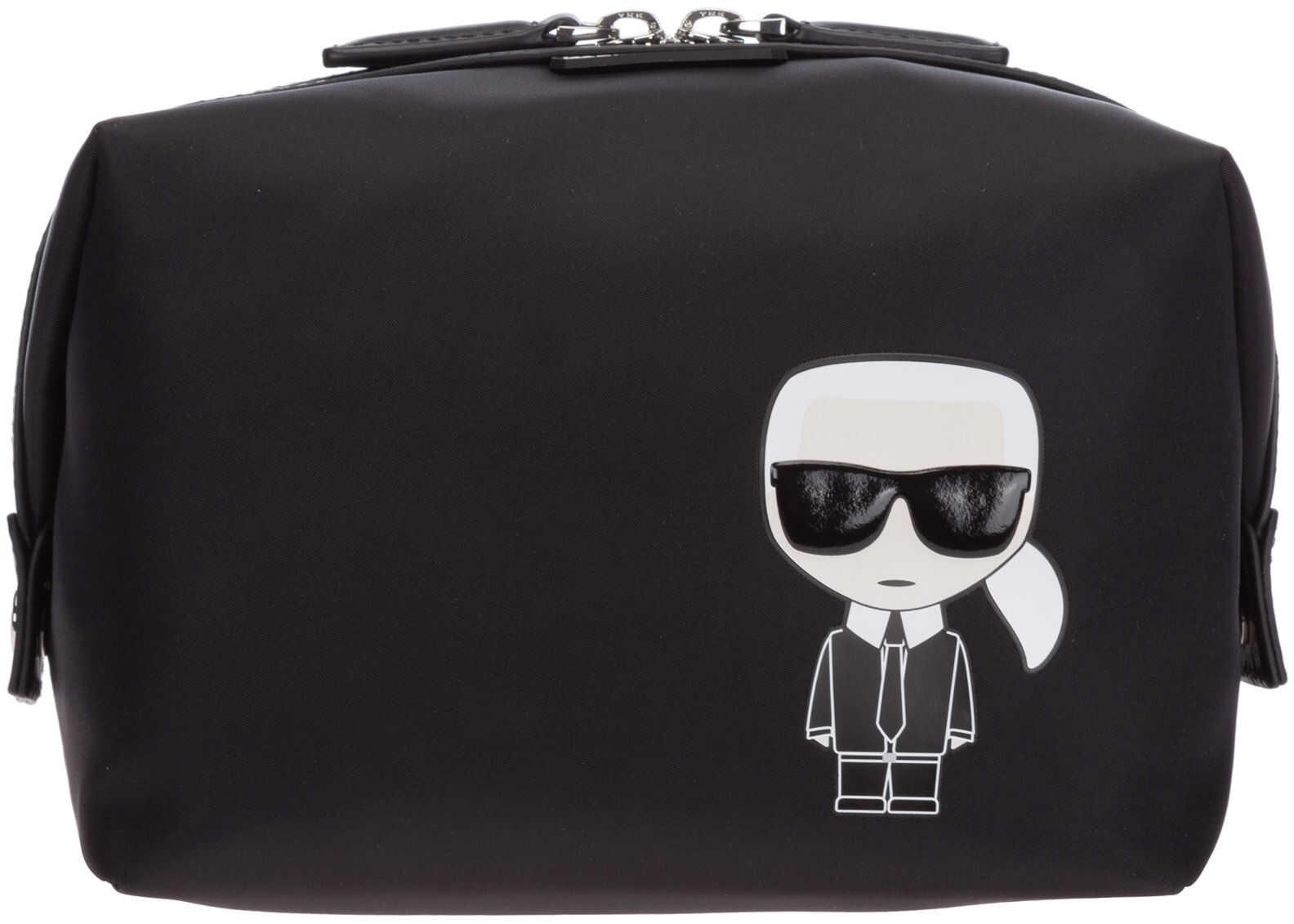 Karl Lagerfeld Travel Makeup Beauty Case K/Ikonik 205W3216 Black imagine b-mall.ro