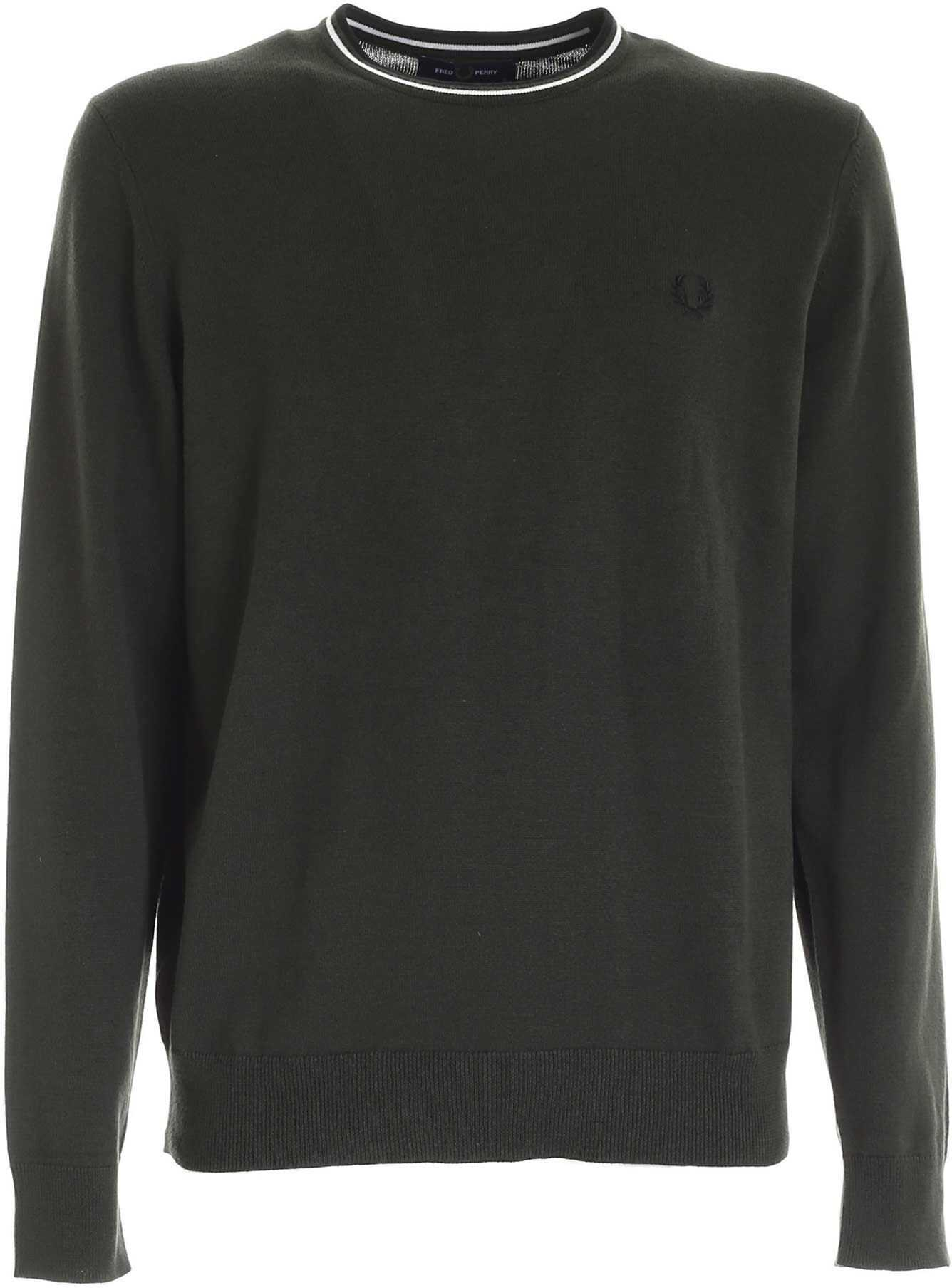 Fred Perry Classic Pullover In Army Green Color Green imagine