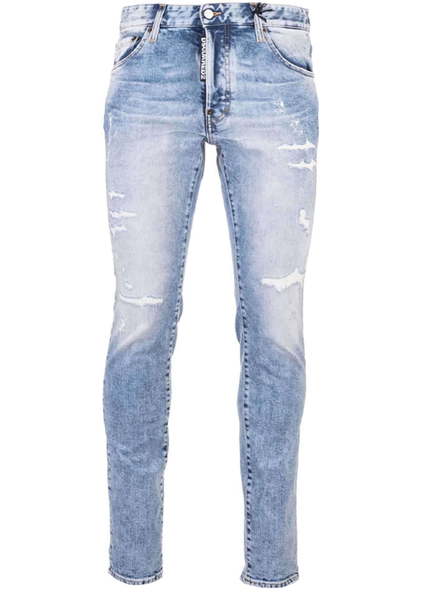 DSQUARED2 Skater Jeans Faded Color Light Baby Blue Blue imagine