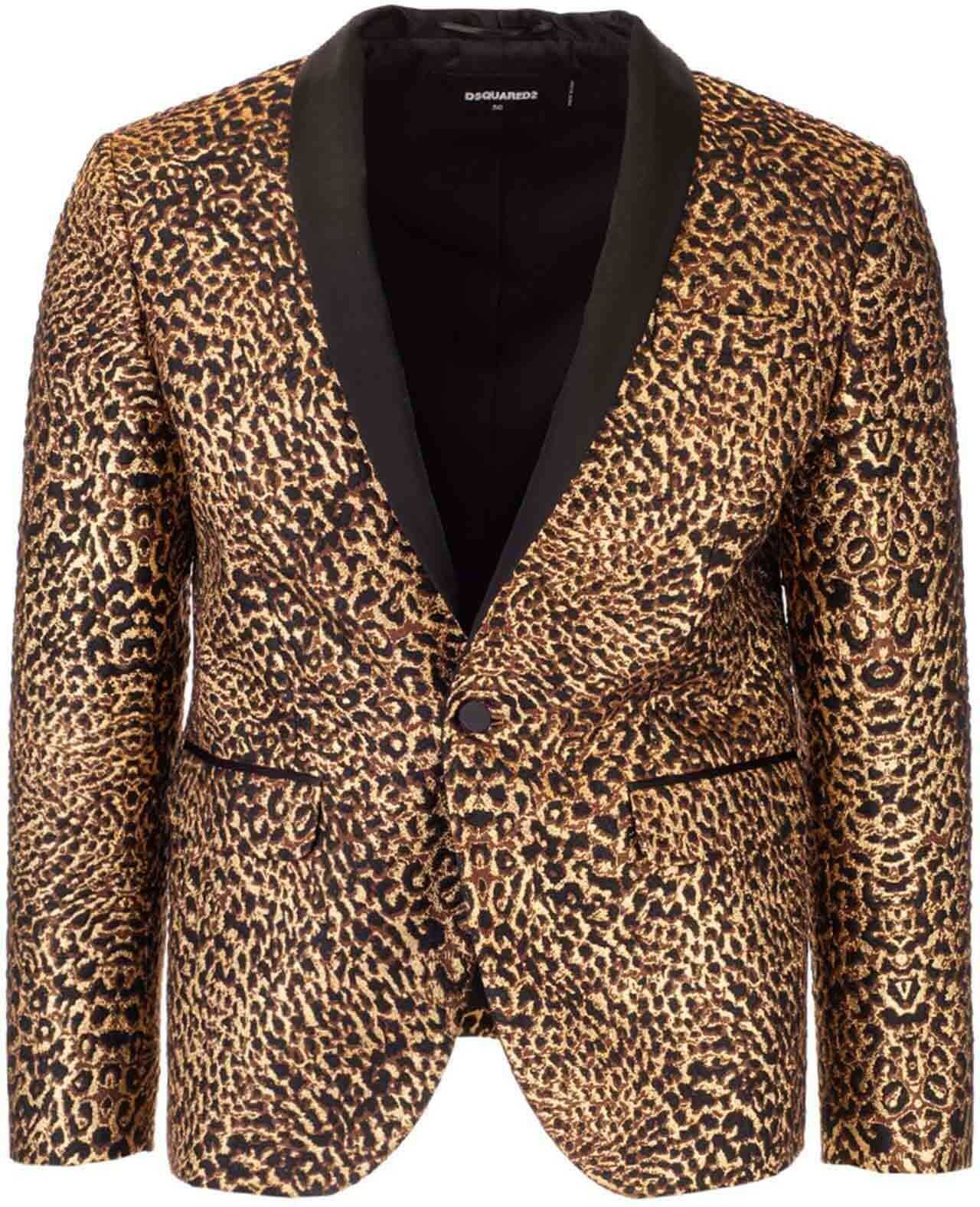 DSQUARED2 Tokyo Spotted Lamé Blazer In Black And Gold Gold imagine