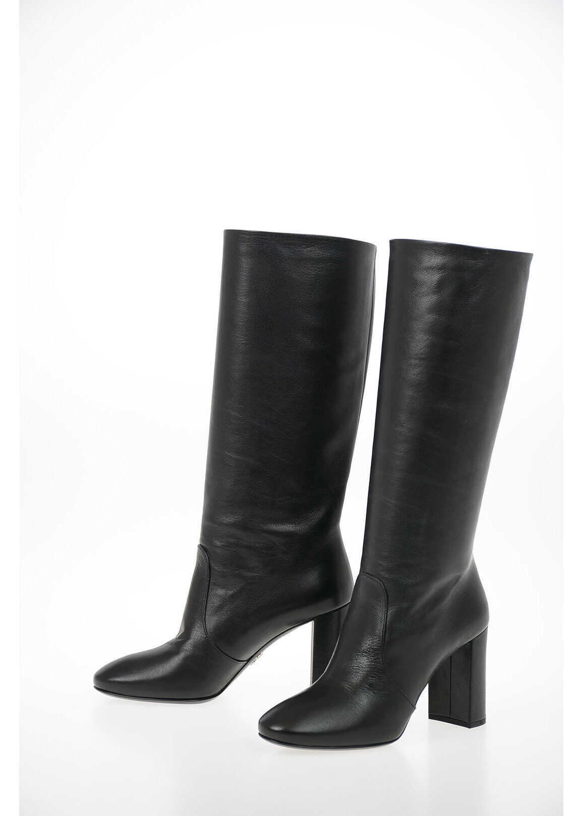 Prada Leather Pull On Boots with Squared Heel 8 cm BLACK imagine b-mall.ro