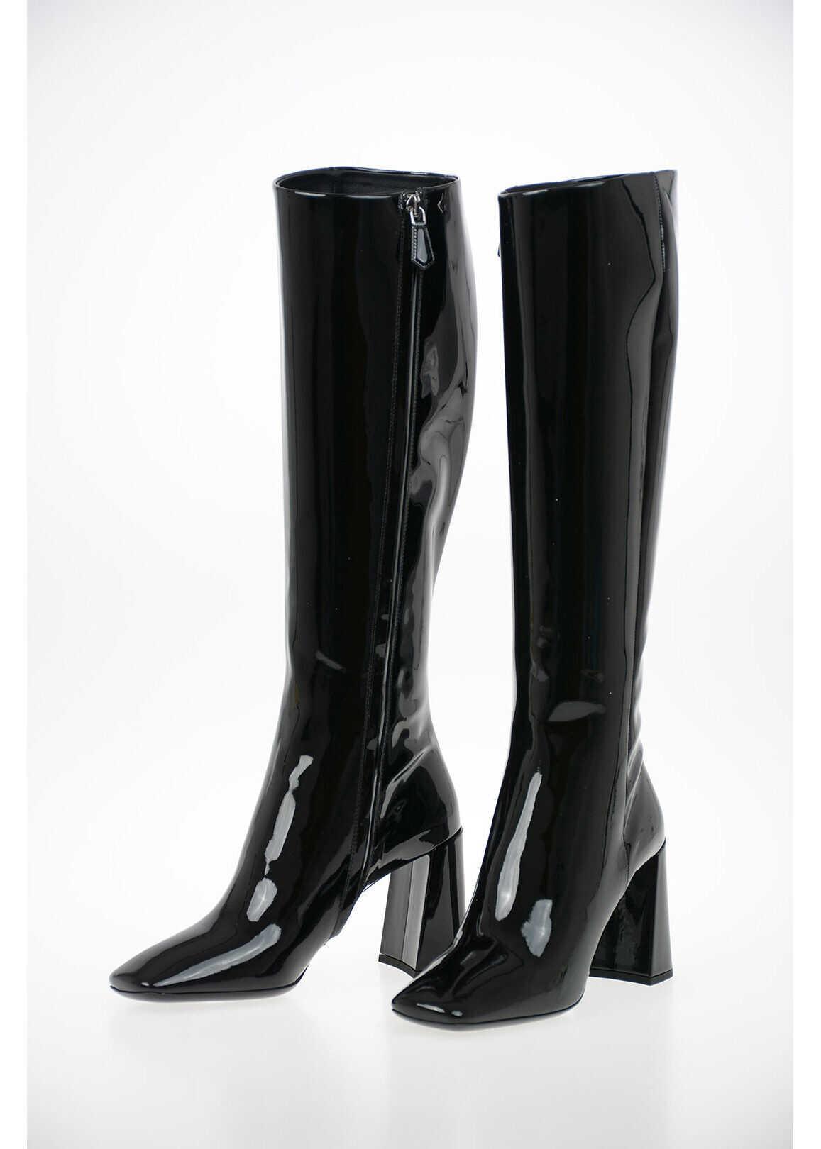 Prada Lacquered Leather Knee Length Boots 9 cm BLACK imagine b-mall.ro