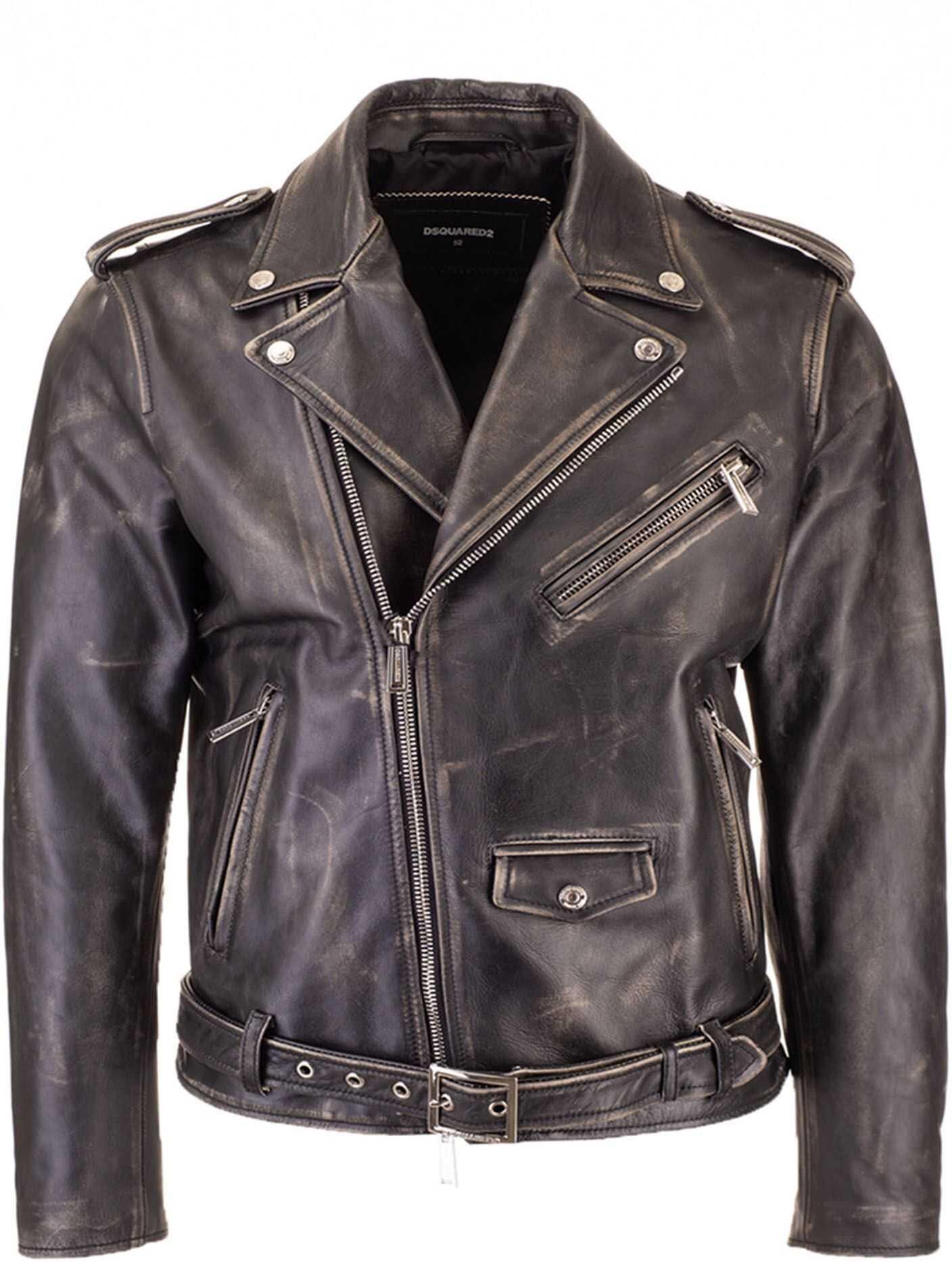 DSQUARED2 Aged Leather Mini Kiodo Jacket In Black Black imagine