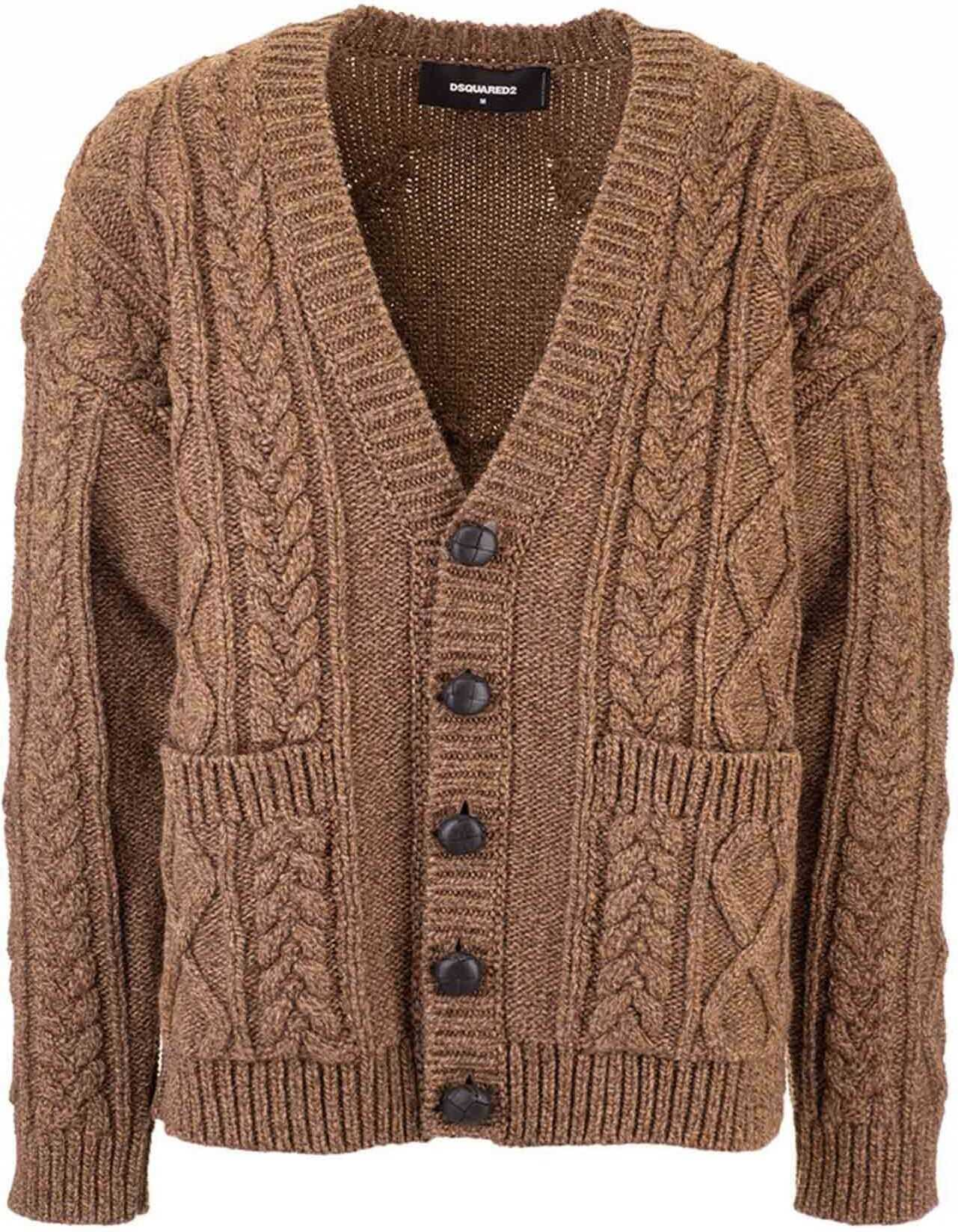 DSQUARED2 Cable Knit Cardigan In Brown Brown imagine