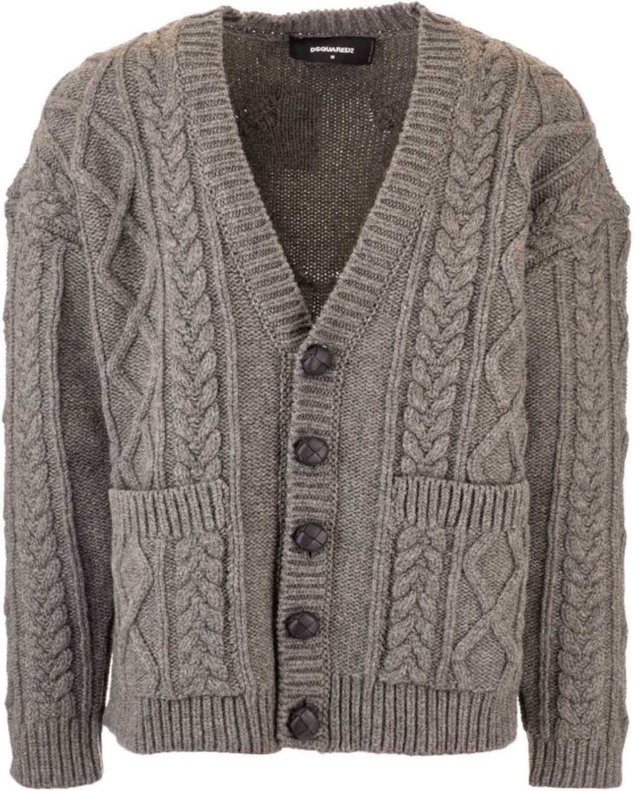 DSQUARED2 Cable Knit Cardigan In Grey Grey imagine