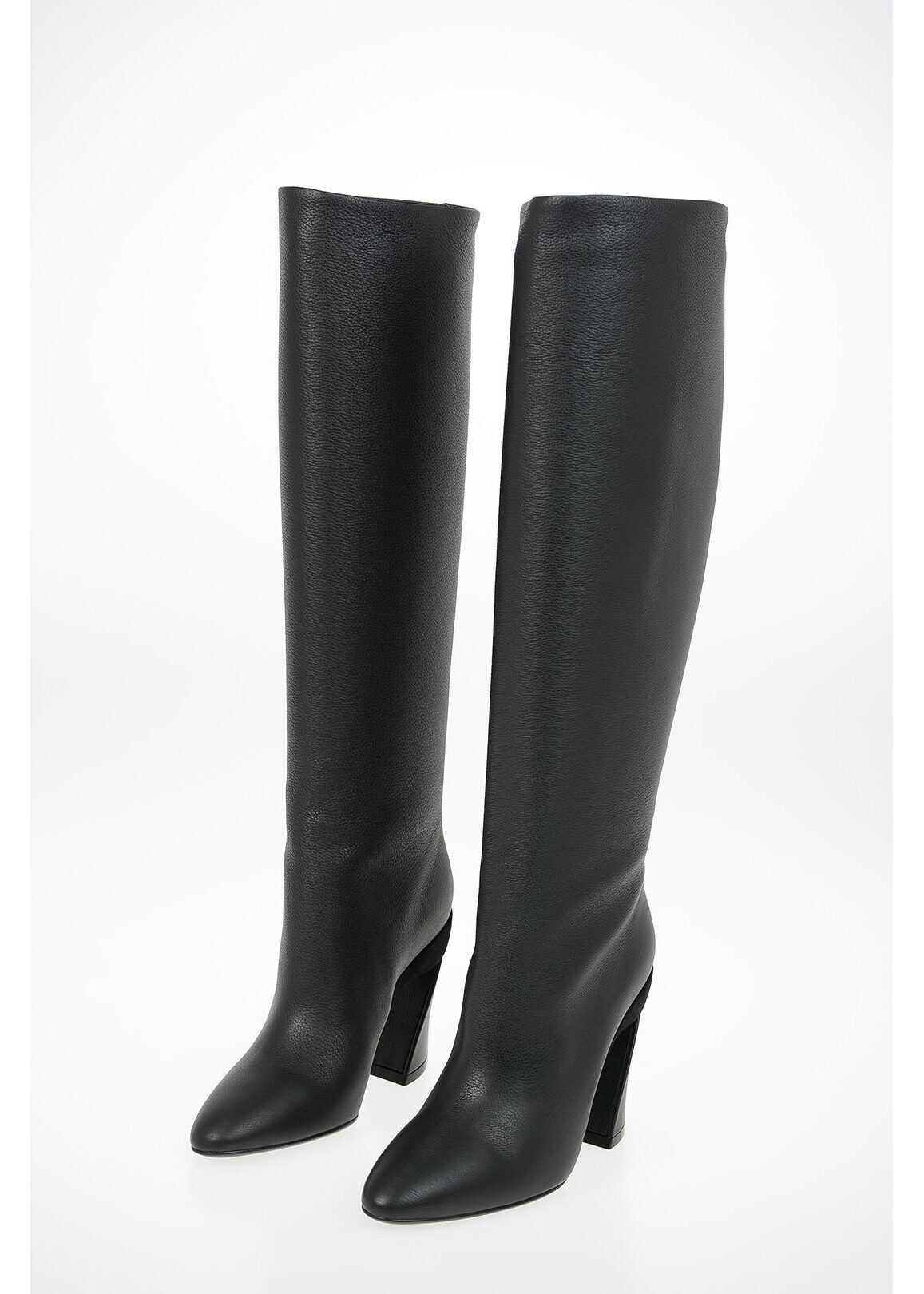 Salvatore Ferragamo Leather Pull On ANTEA X5 Boots BLACK imagine b-mall.ro