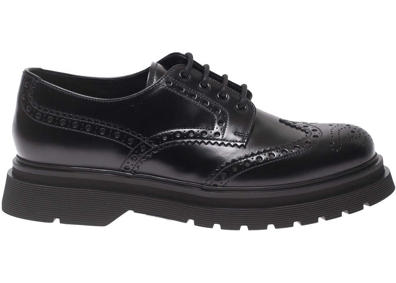Prada Brogue Derby Shoes In Black 2EE347 B4L F0002 Black imagine b-mall.ro