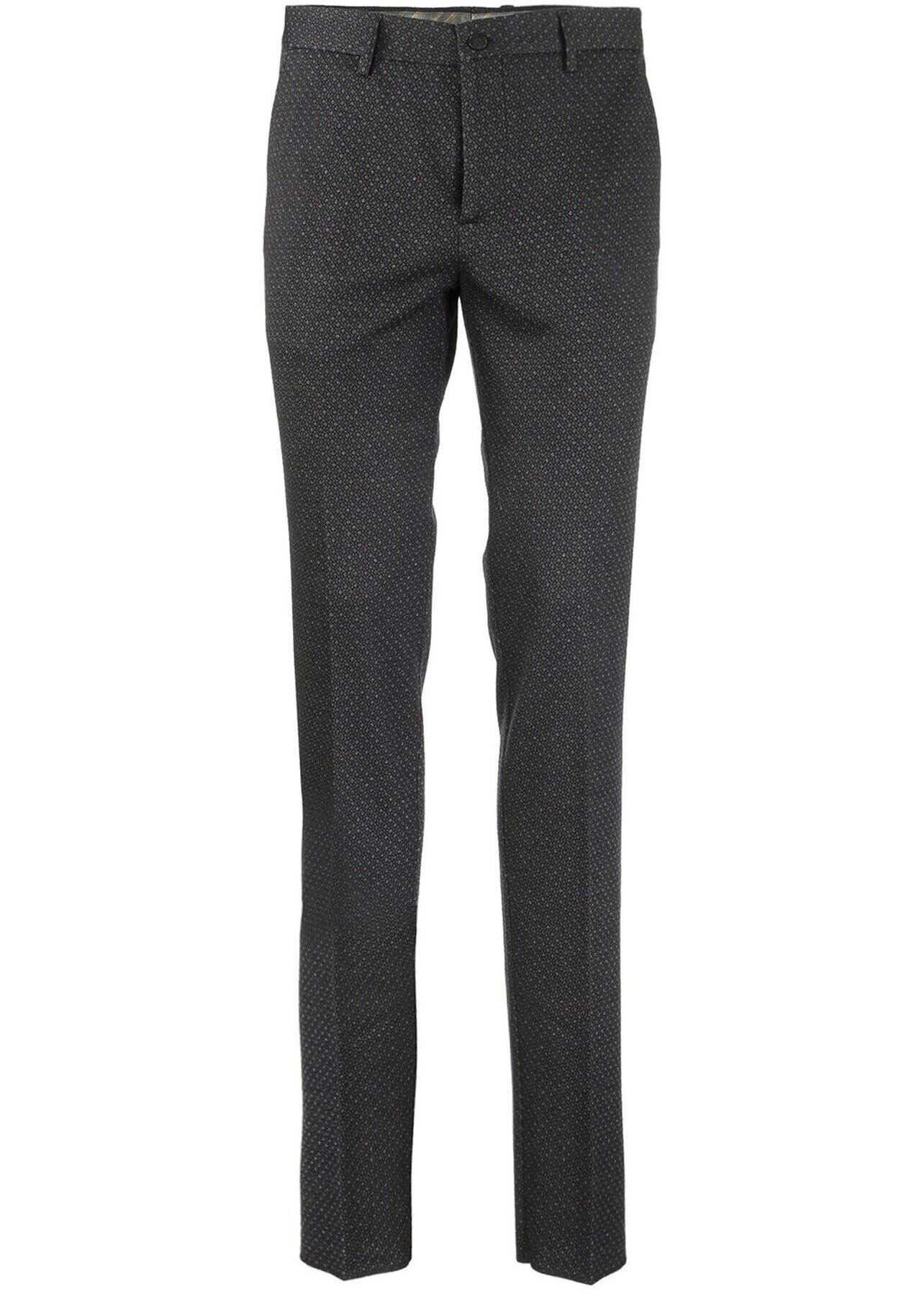 ETRO Cotton Wool Blend Pants In Blue Blue imagine