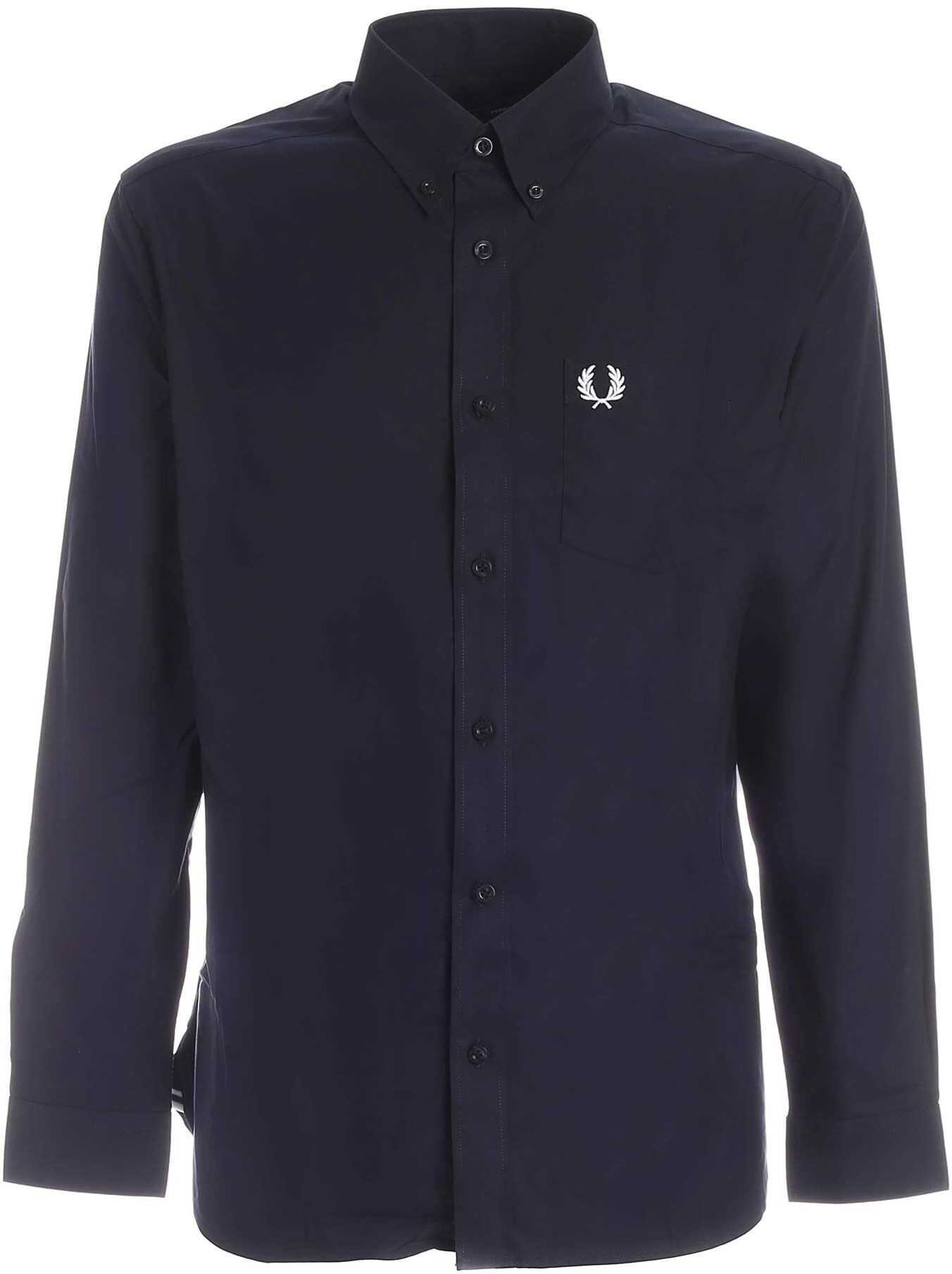 Fred Perry Logo Embroidery Button Down Shirt In Blue Blue imagine