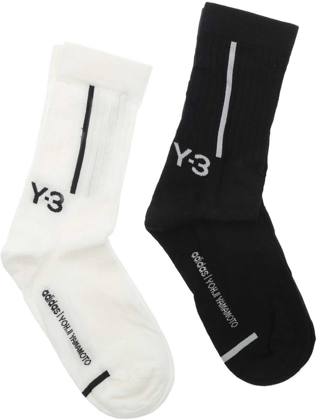 Y-3 Logo Socks Set In Black And White Black