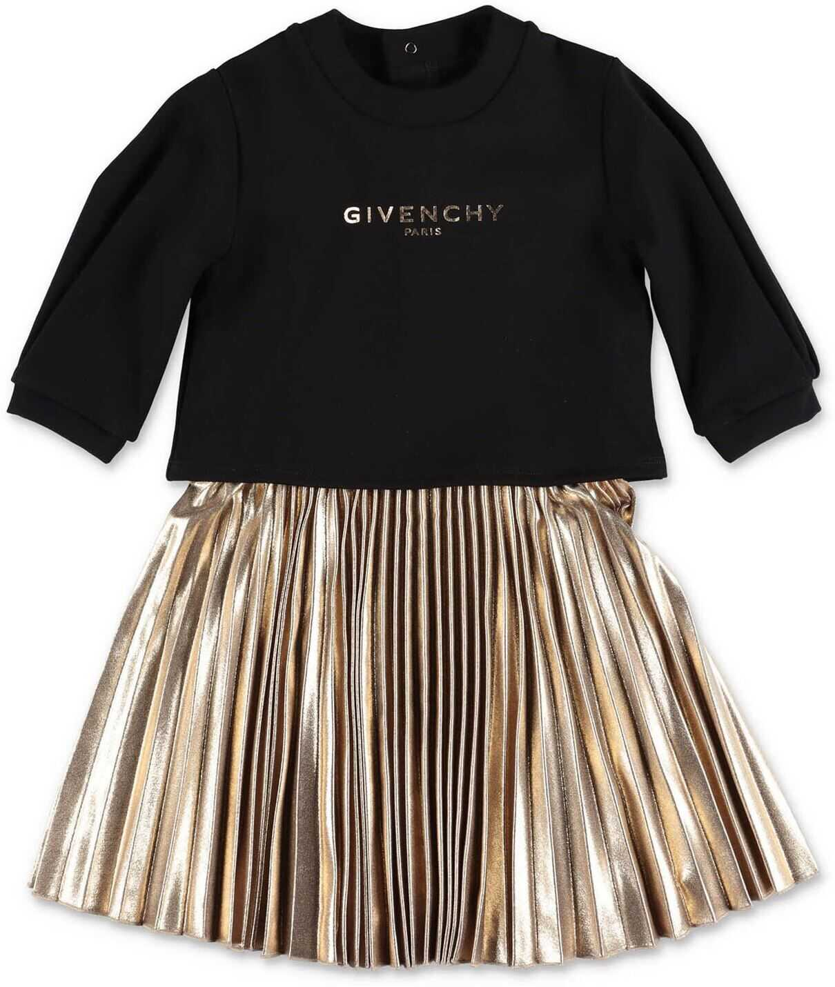 Givenchy Dress And Sweatshirt Set In Black And Gold Black
