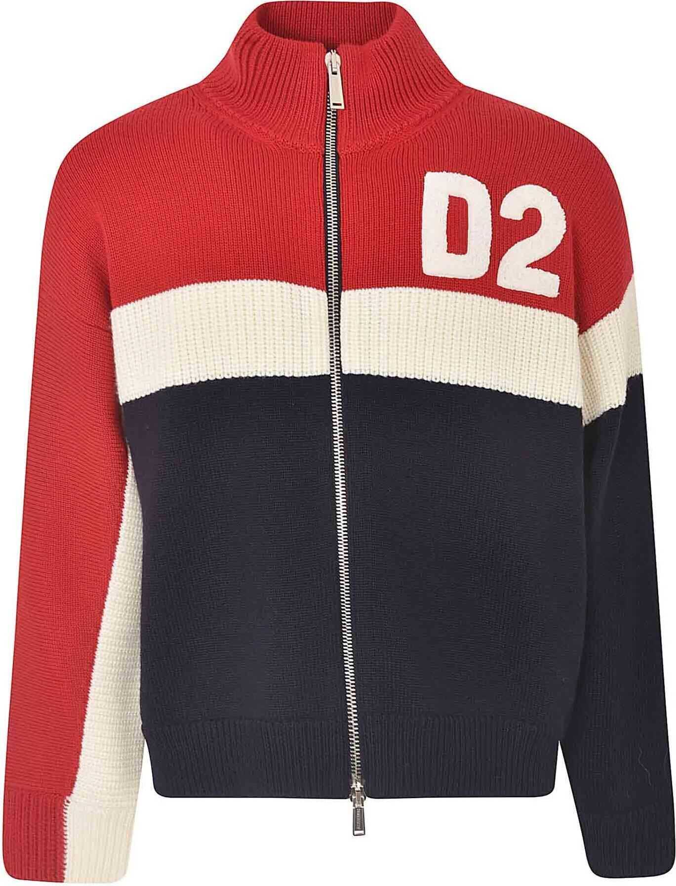 DSQUARED2 Colorblock D2 Sweater In Blue Red And White Red imagine