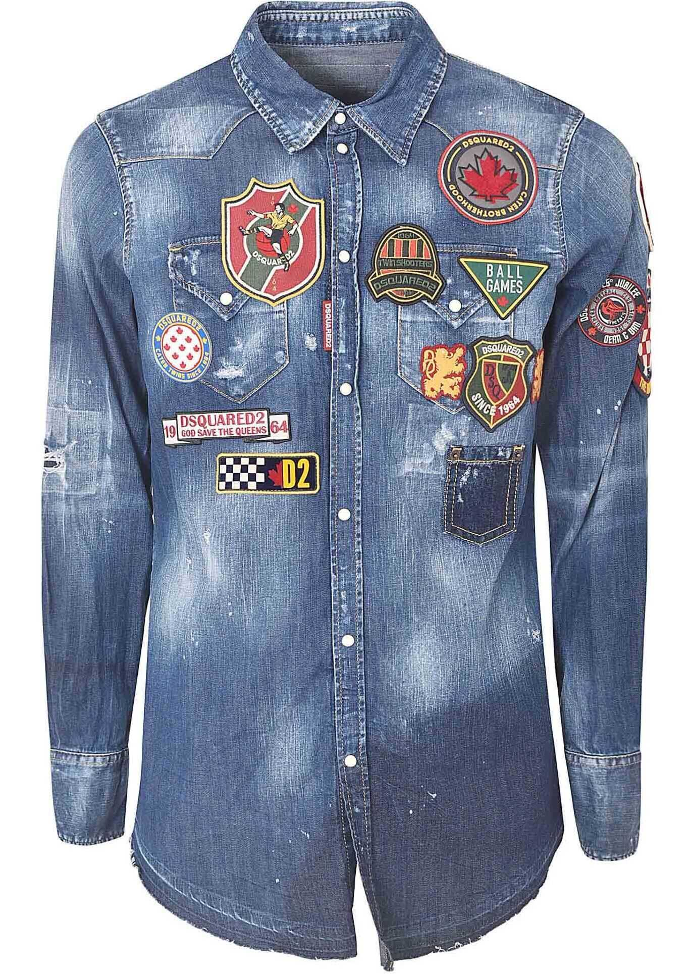 DSQUARED2 Patch College Denim Shirt In Blue Blue imagine