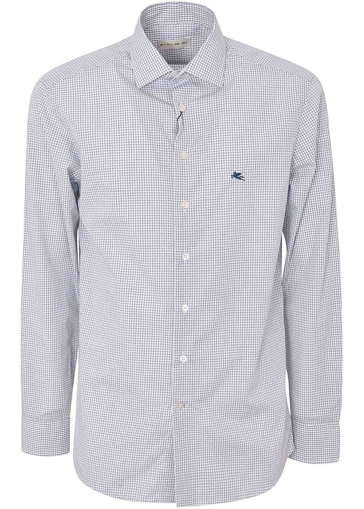 ETRO Checked Shirt In White And Blue White imagine
