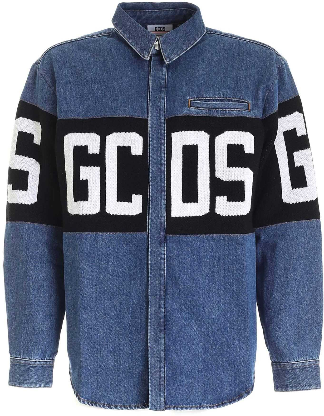 GCDS Maxi Logo Denim Shirt In Blue Blue imagine