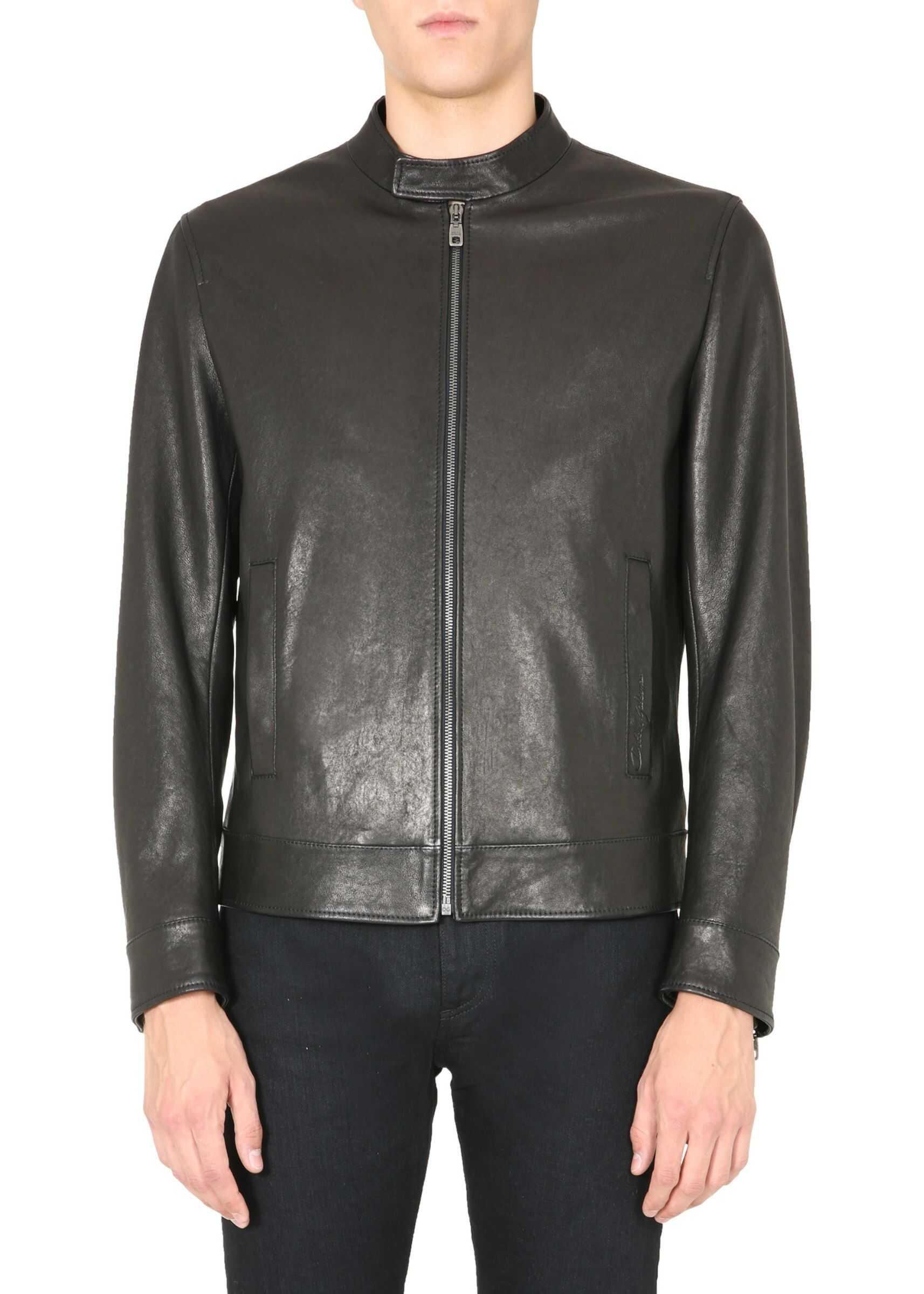 Dolce & Gabbana Leather Jacket BLACK imagine