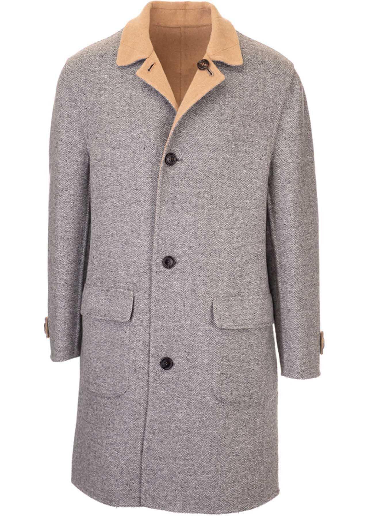 Brunello Cucinelli Reversible Frock Coat In Grey And Beige Grey imagine