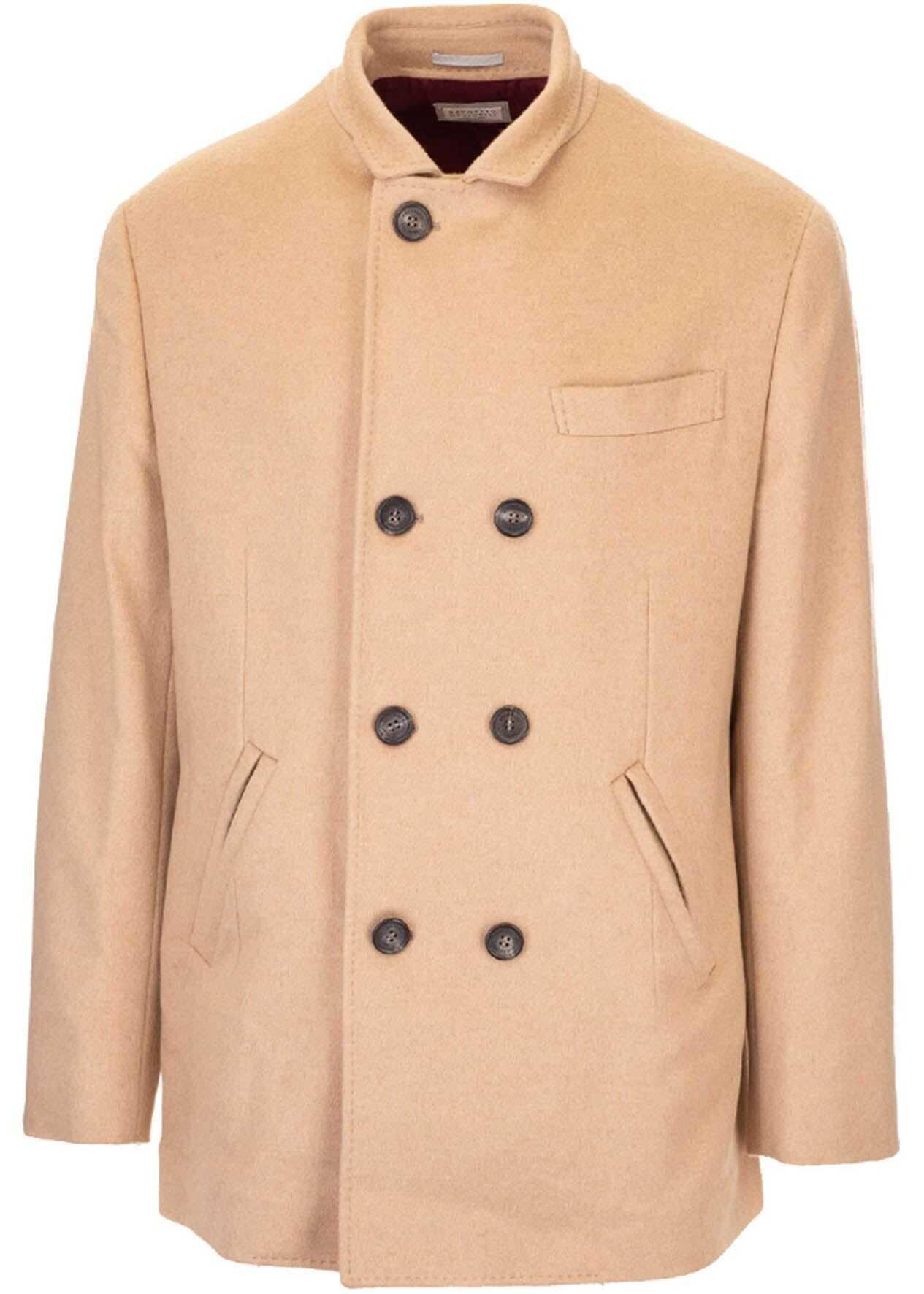 Brunello Cucinelli Double-Breasted Coat In Beige Beige imagine