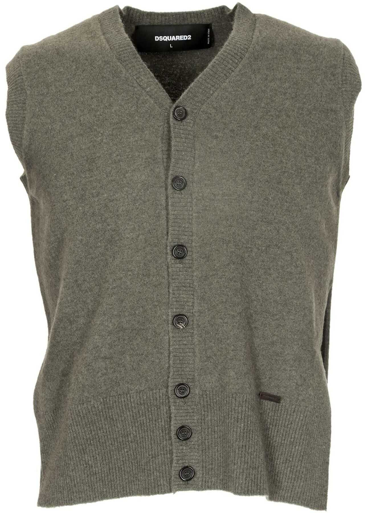 DSQUARED2 Buttoned Vest In Green Green imagine
