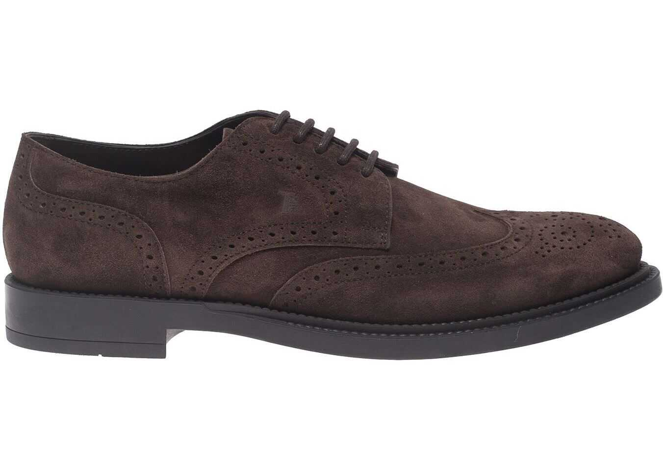 TOD'S Derby Shoes In Dark Brown Suede XXM62C00C10RE0S800 Brown imagine b-mall.ro