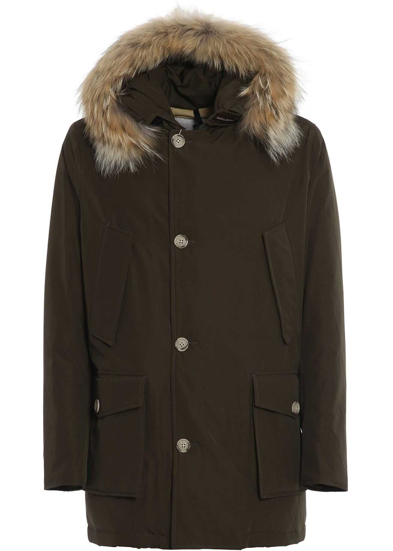 Woolrich Artic Parka Down Jacket In Brown Brown imagine