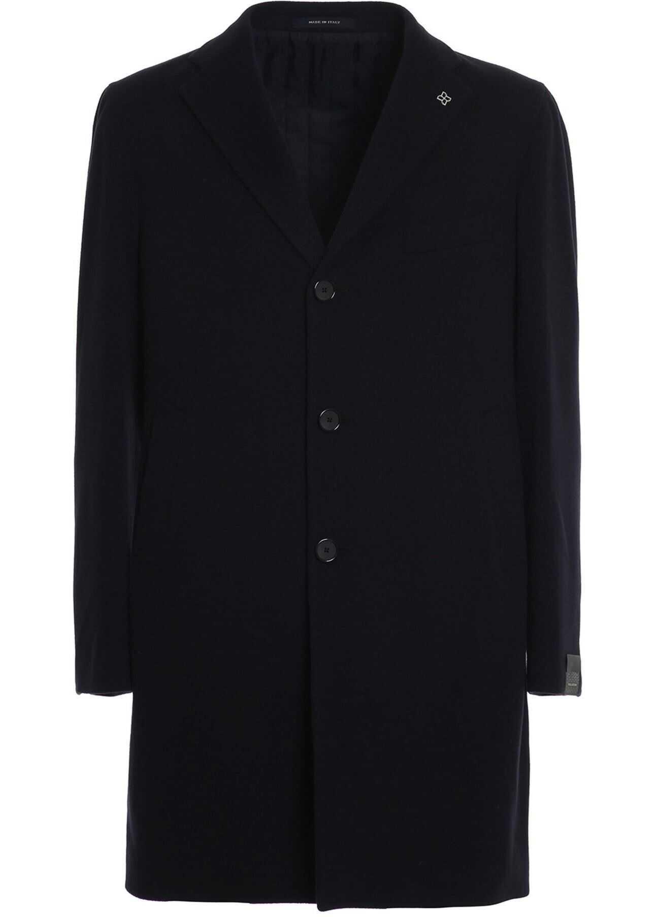 Tagliatore Soft Wool And Cashmere Cloth Coat In Black Blue imagine