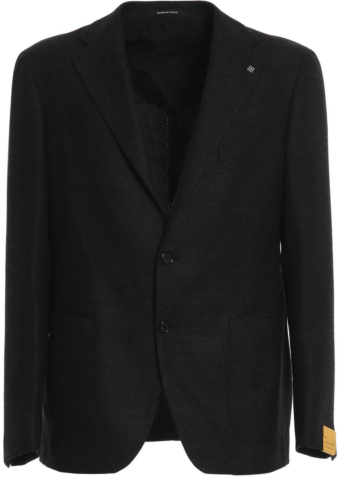 Tagliatore Virgin Wool Blazer In Black Black imagine