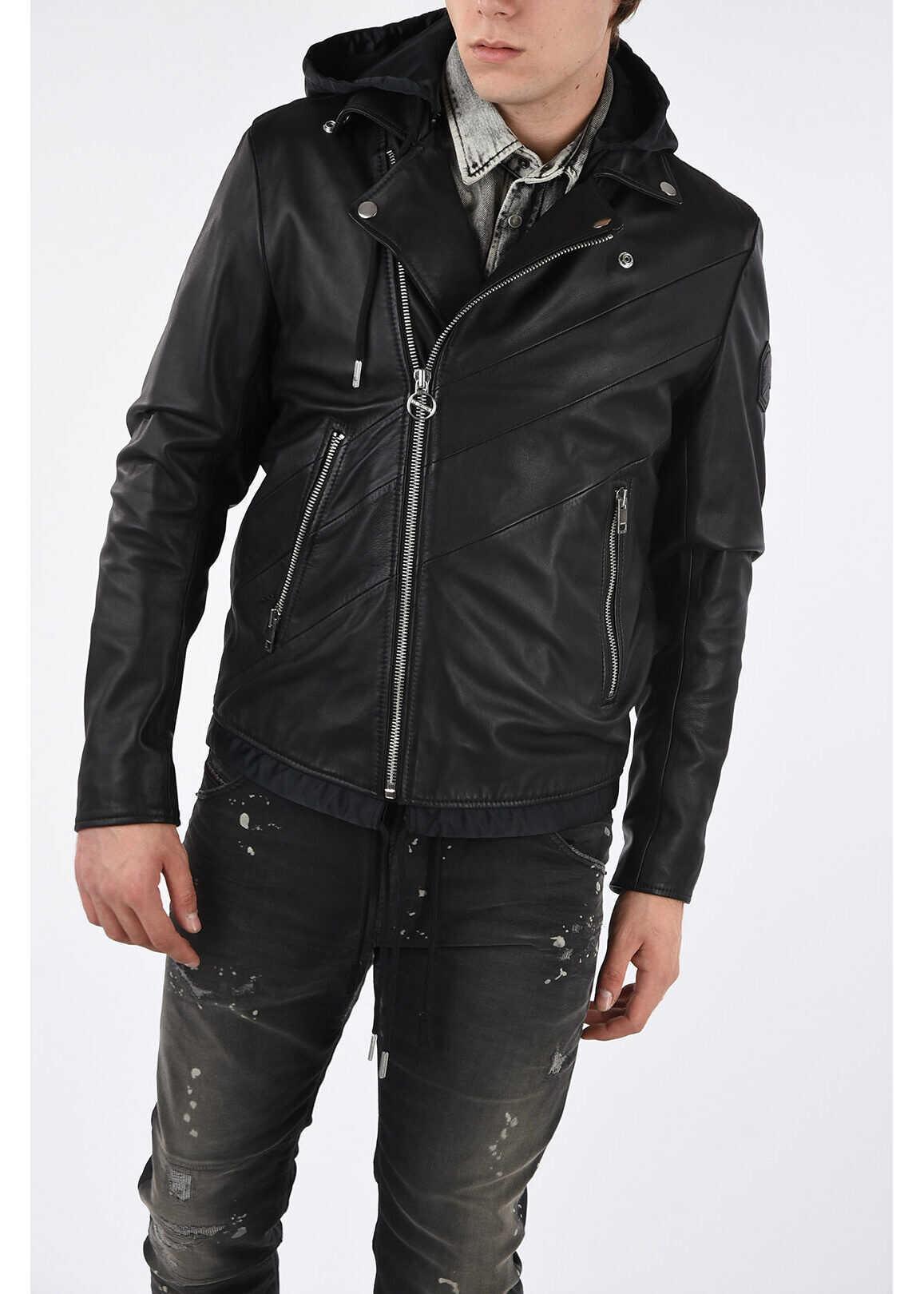 Diesel Leather Hoodie L-SOLOVE Jacket BLACK imagine