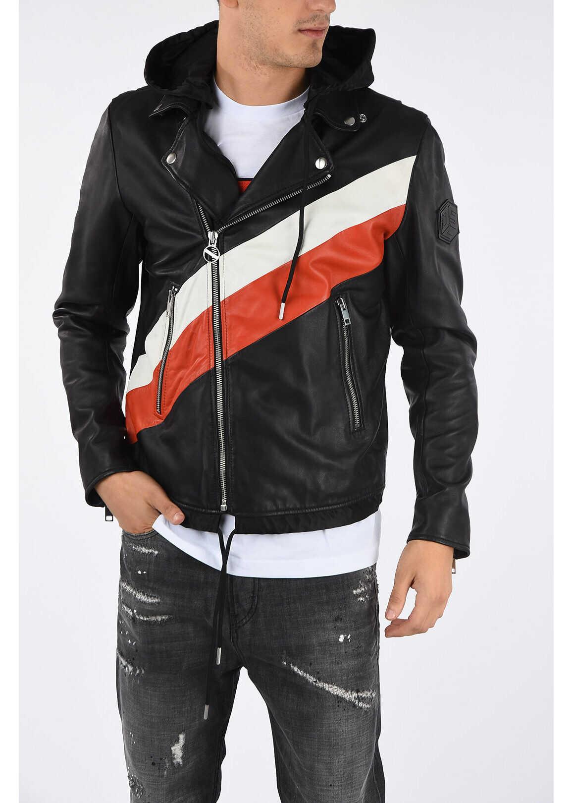 Diesel Leather Hoodie L-SOLOVE Jacket MULTICOLOR imagine