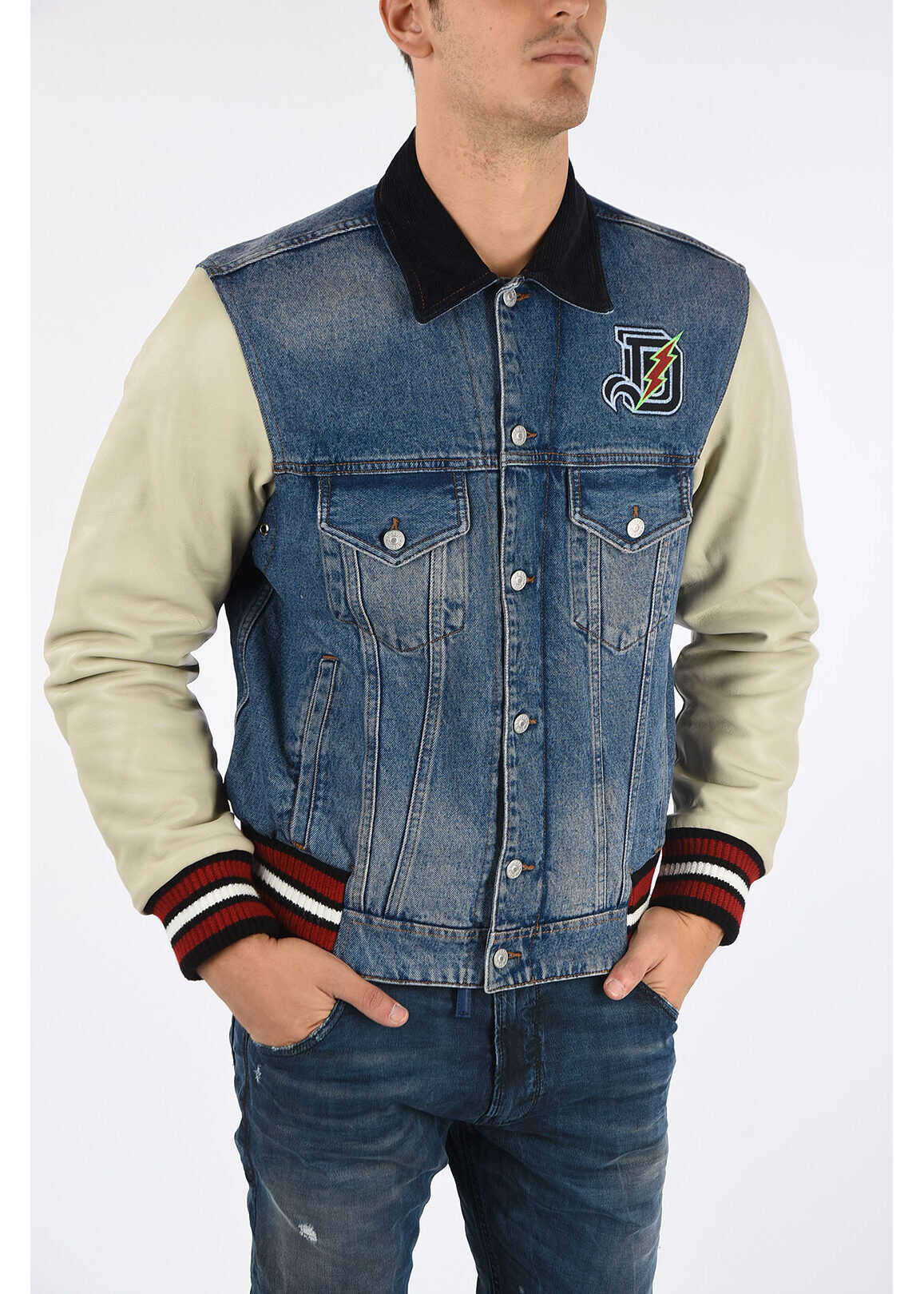 Diesel Denim D-BRESK Jacket with Leather Sleeves BLUE imagine