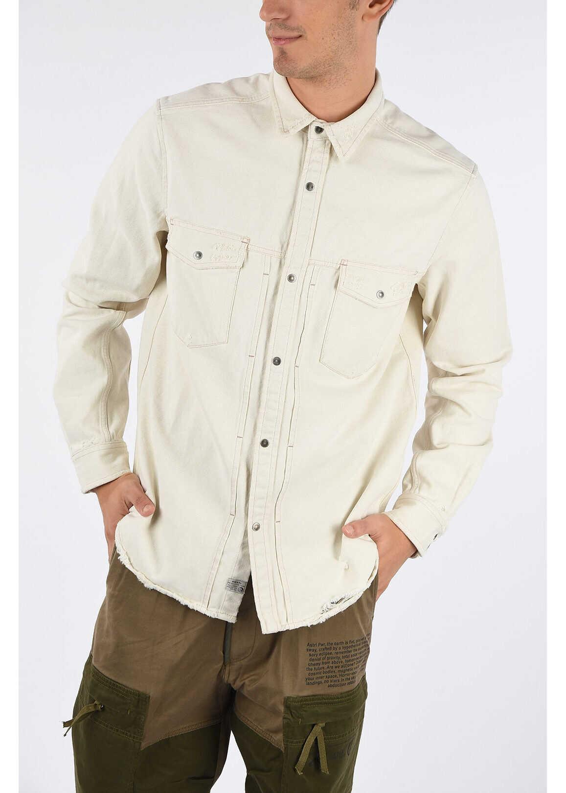 Diesel Distressed Denim D-BANDY-B Shirt WHITE imagine
