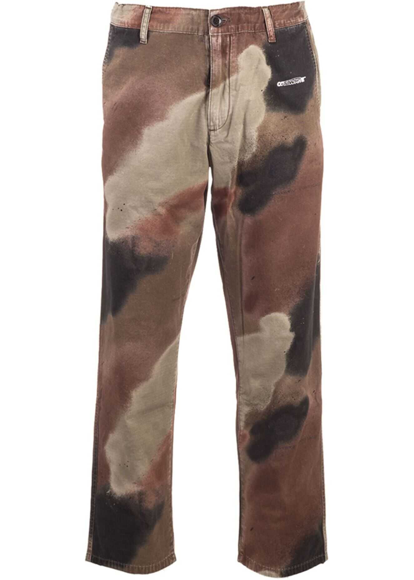 Off-White Camouflage Pants In Brown Brown imagine