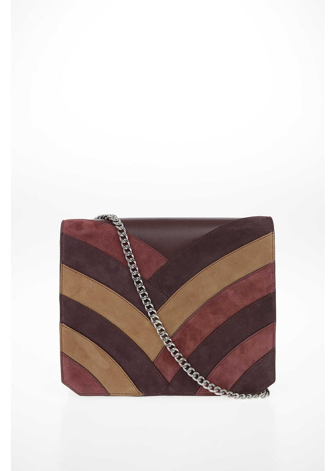 Just Cavalli Suede Leather Shoulder Bag BURGUNDY imagine b-mall.ro