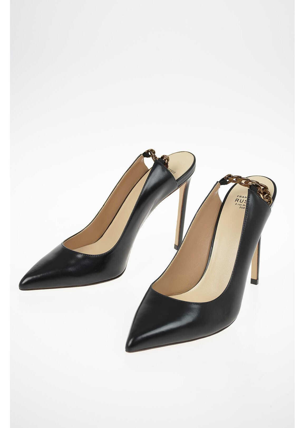 Francesco Russo Leather Slingbacks 10cm BLACK imagine b-mall.ro