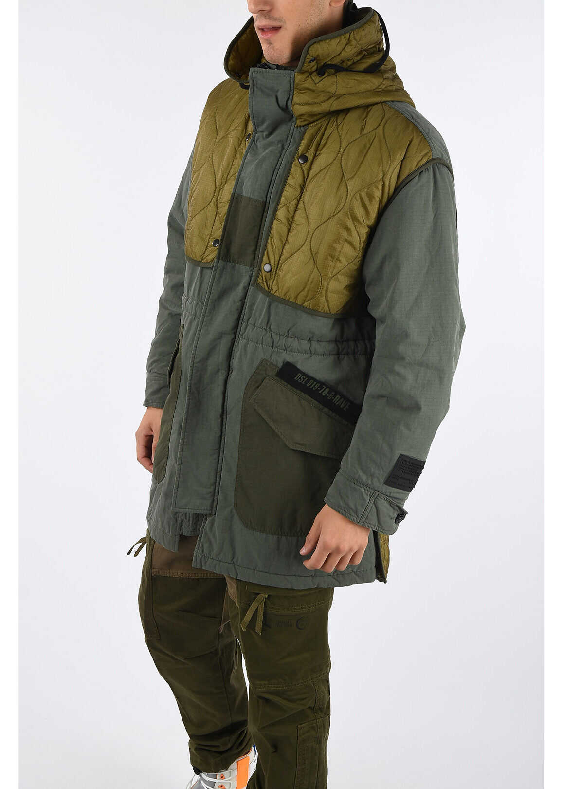 Diesel Nylon and Cotton W-KOVIK Parka GREEN imagine