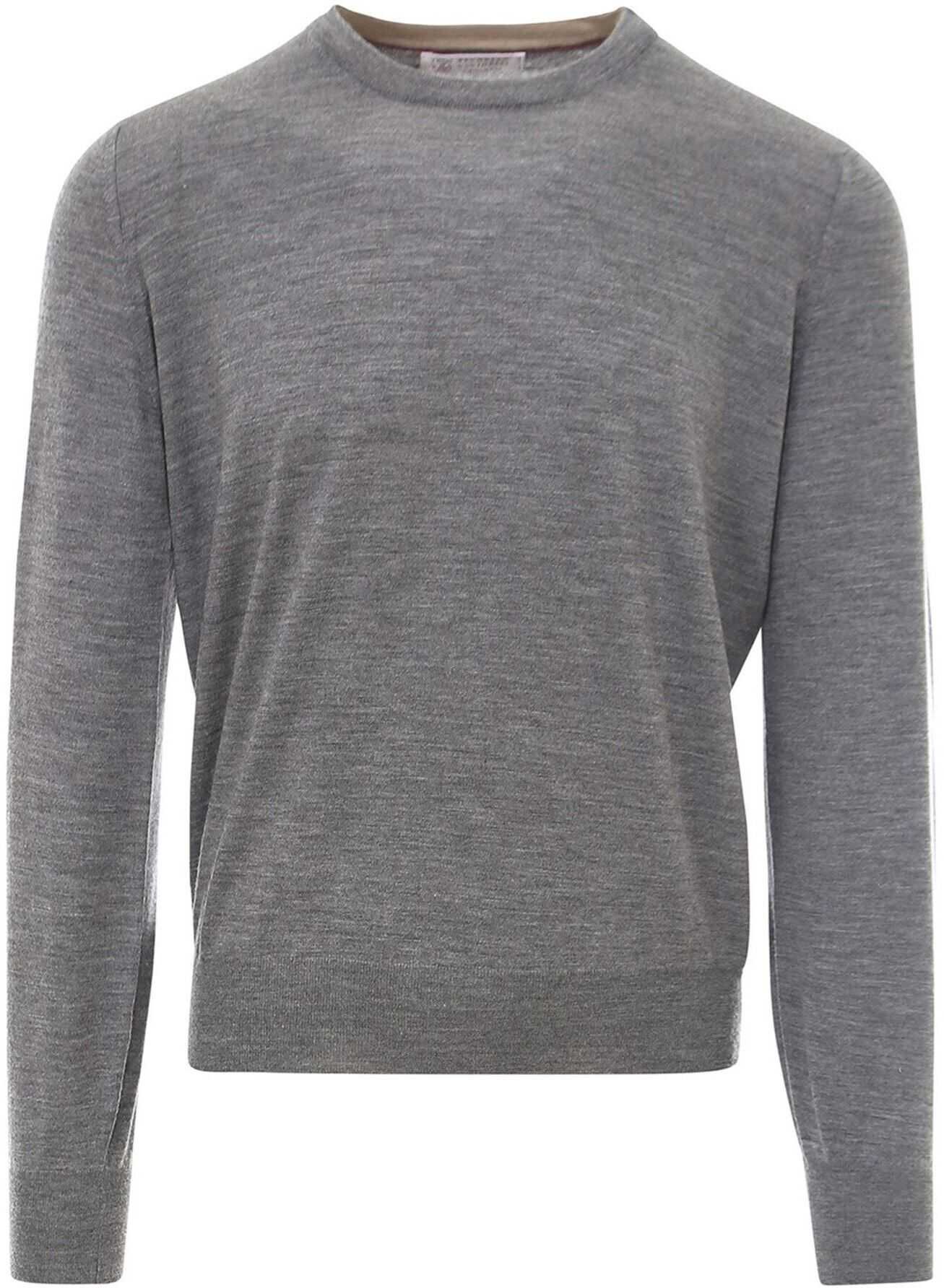 Brunello Cucinelli Wool And Cashmere Grey Sweater In Grey Grey imagine