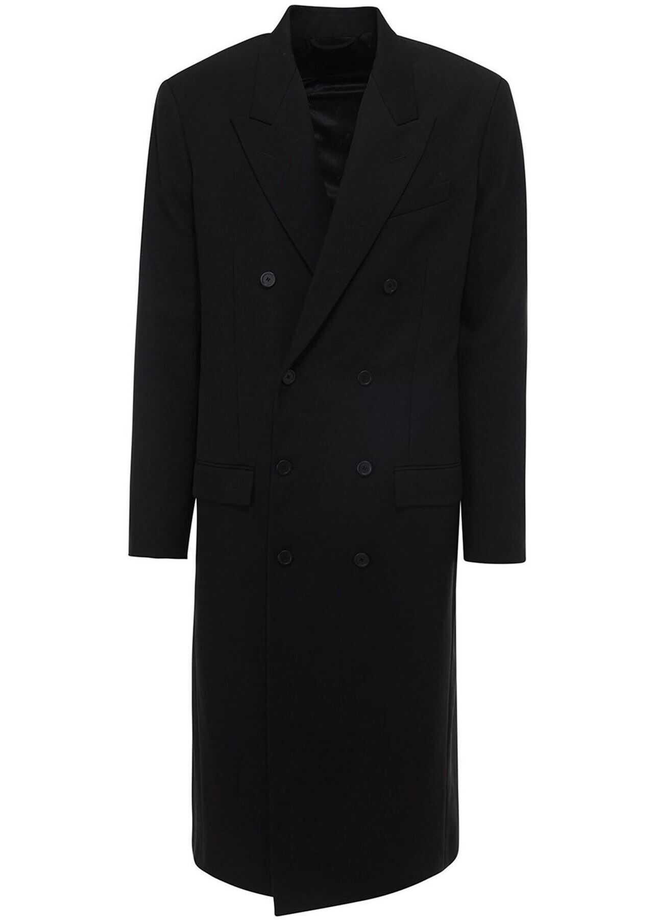 Balenciaga Double-Breasted Wool Coat In Black Black imagine