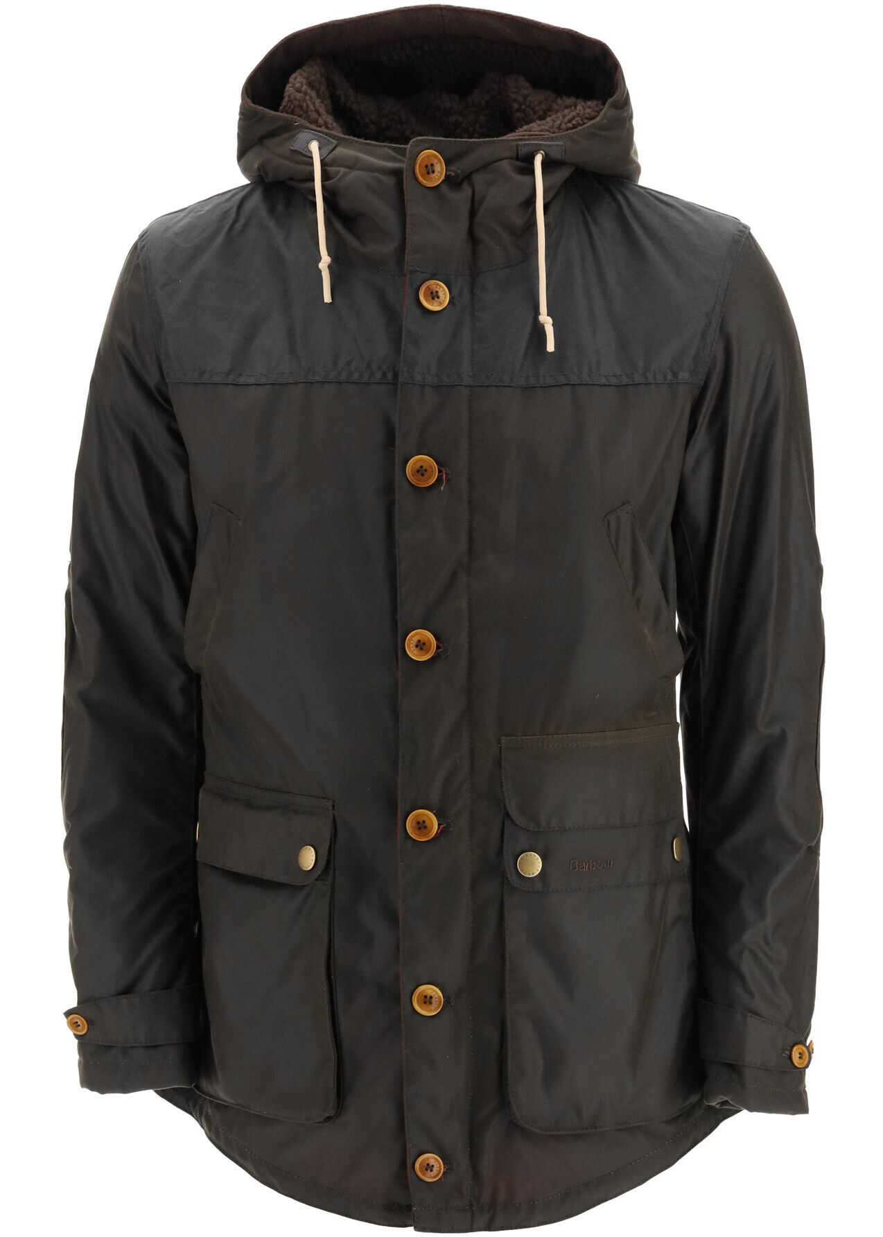 Barbour Game Parka In Waxed Cotton OLIVE imagine
