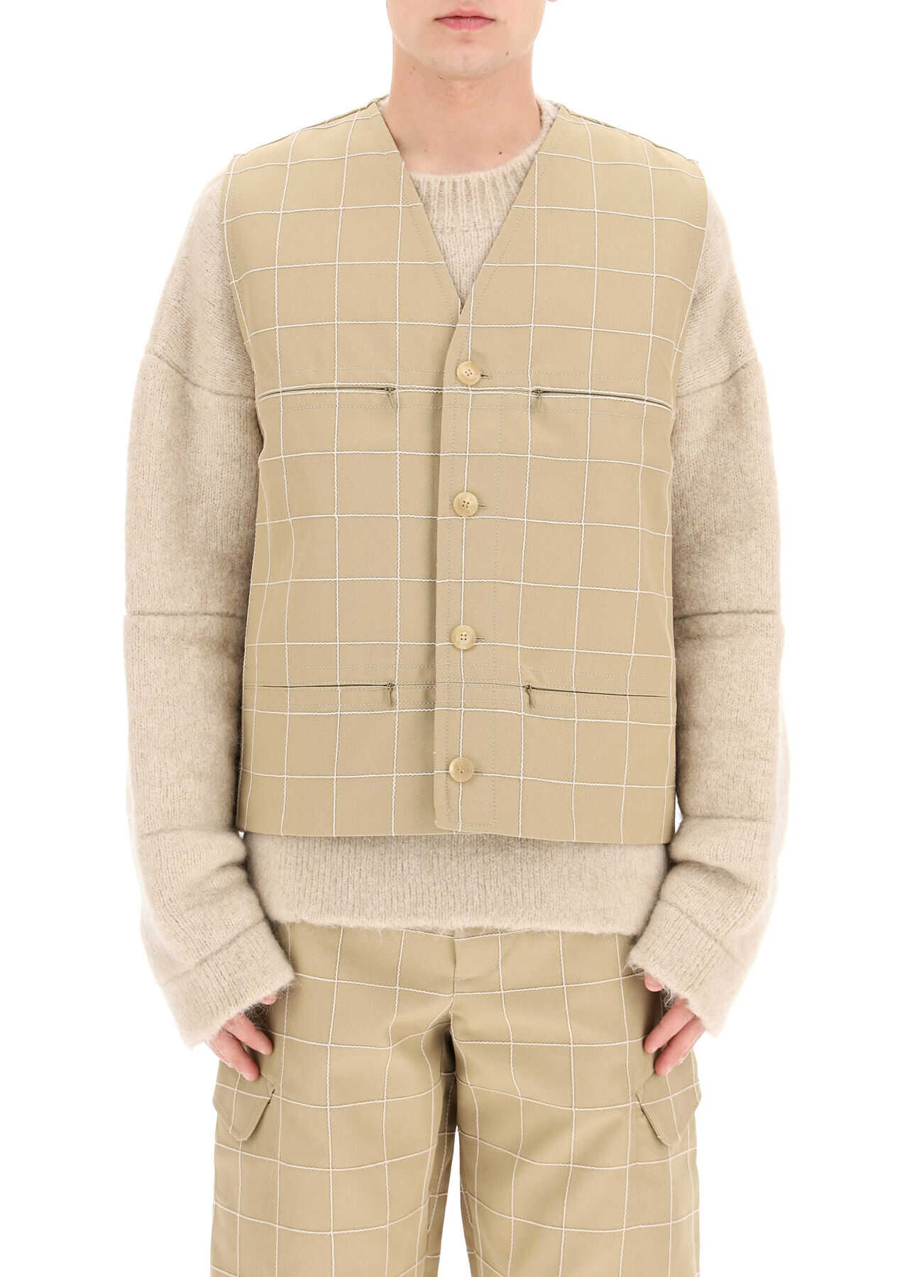 JACQUEMUS Embroidered Check Vest BEIGE CHECK imagine