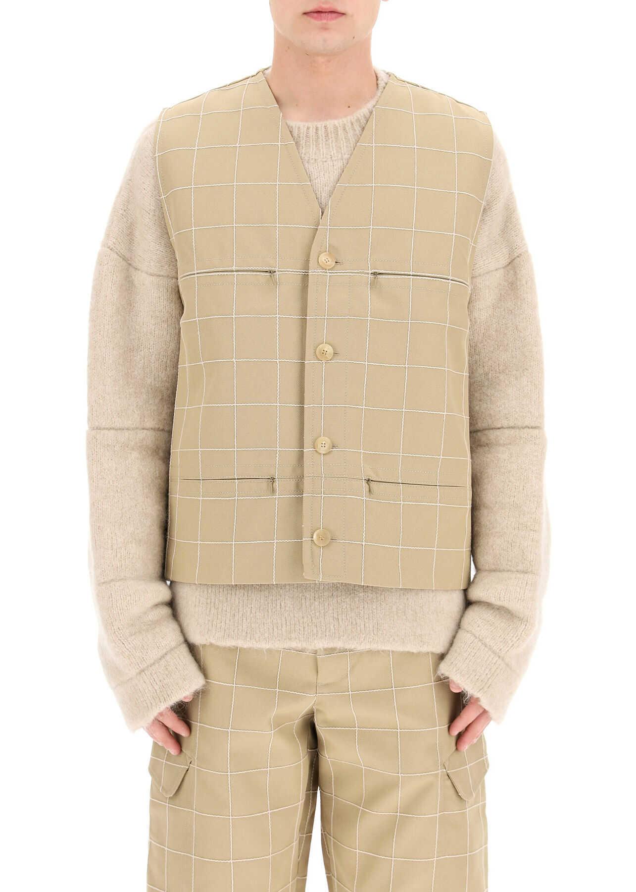 JACQUEMUS Embroidered Check Vest BEIGE CHECK imagine